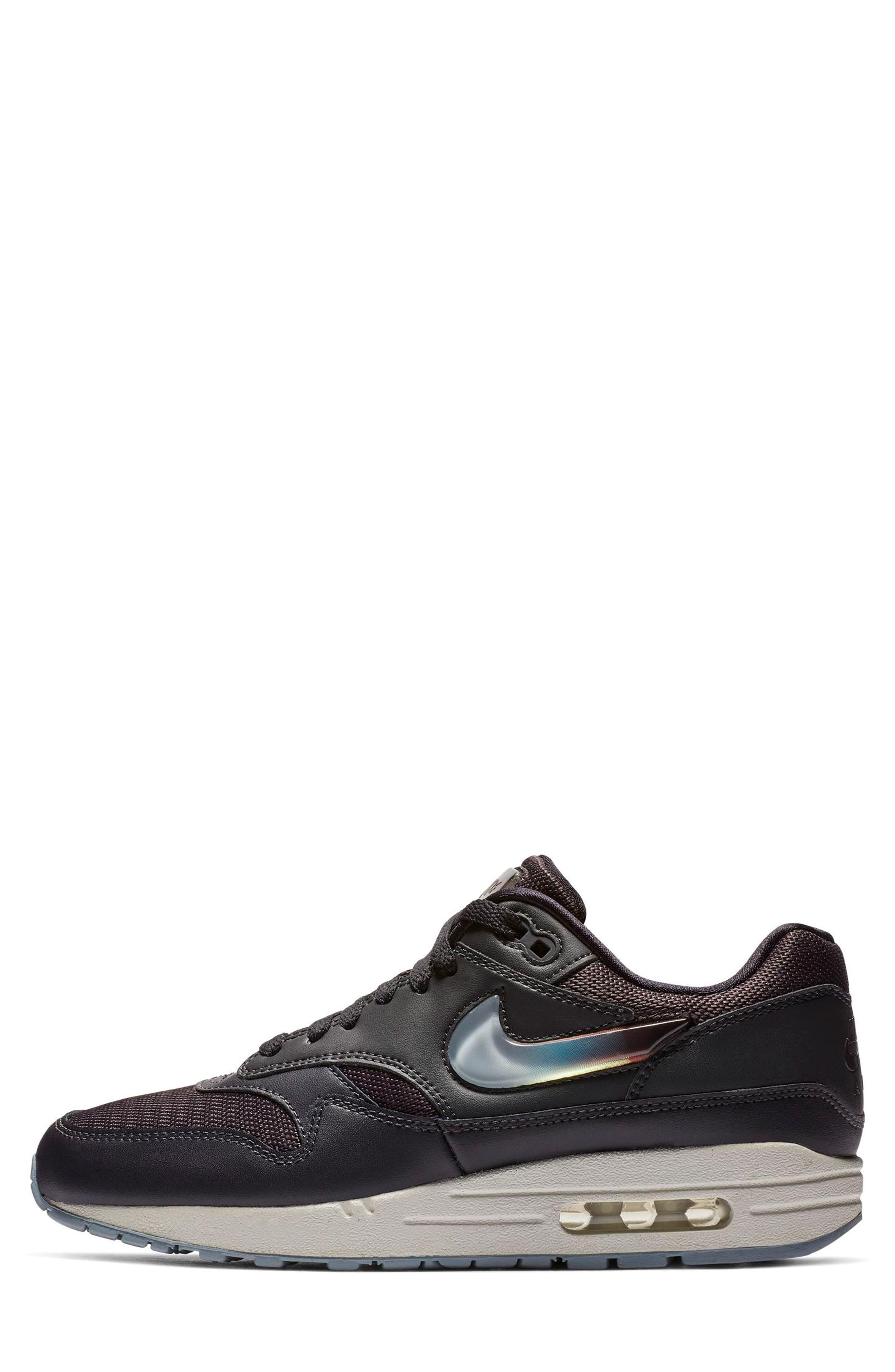 NIKE, Air Max 1 JP Sneaker, Alternate thumbnail 3, color, OIL GREY/ OBSIDIAN/ WHITE