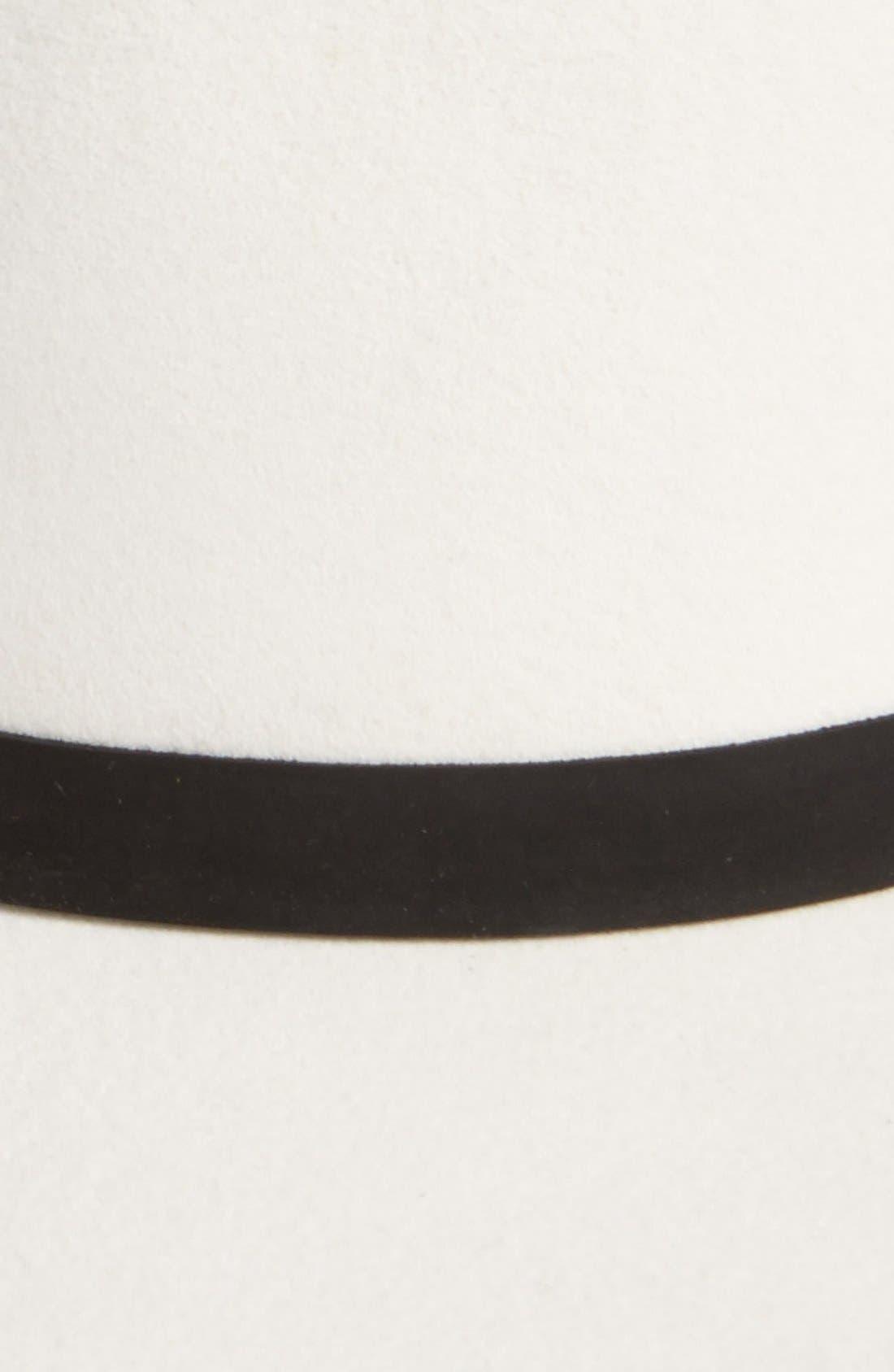 JANESSA LEONE, 'Camellia' Wide Brim Wool Fedora, Alternate thumbnail 2, color, 100