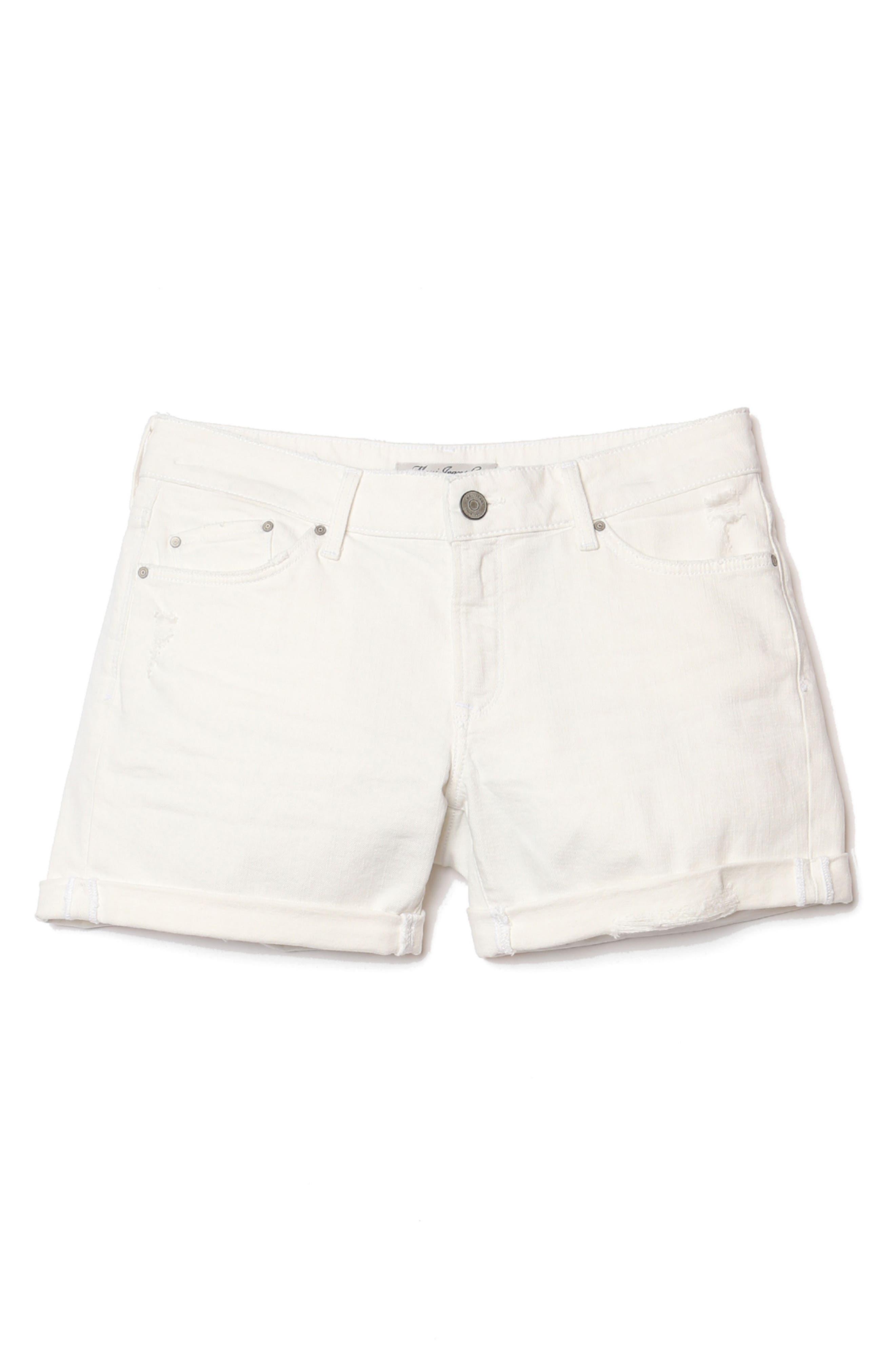 MAVI JEANS, Pixie Ripped Denim Shorts, Alternate thumbnail 4, color, WHITE RIPPED NOLITA