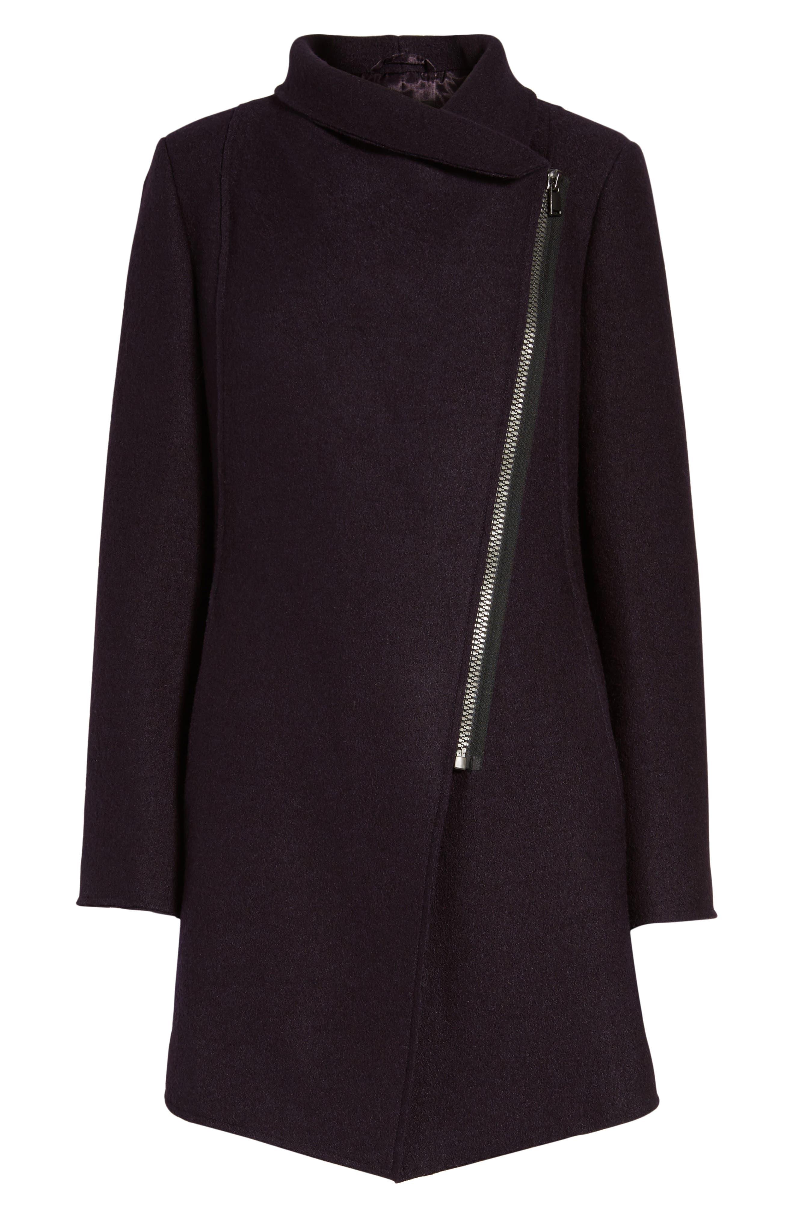 HALOGEN<SUP>®</SUP>, Asymmetrical Zip Boiled Wool Blend Coat, Alternate thumbnail 6, color, 500