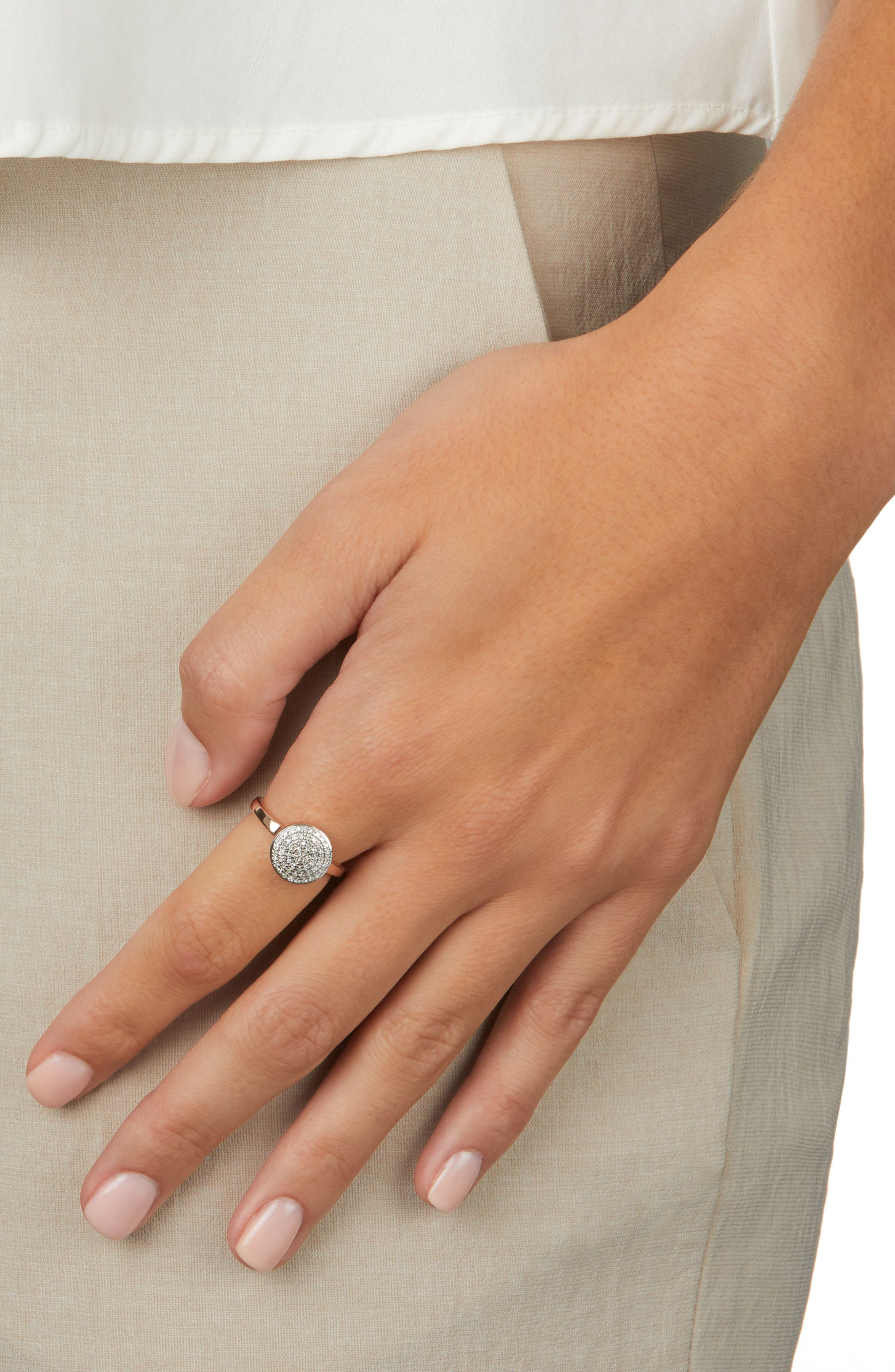 MONICA VINADER, Fiji Large Diamond Button Stack Ring, Alternate thumbnail 2, color, ROSE GOLD