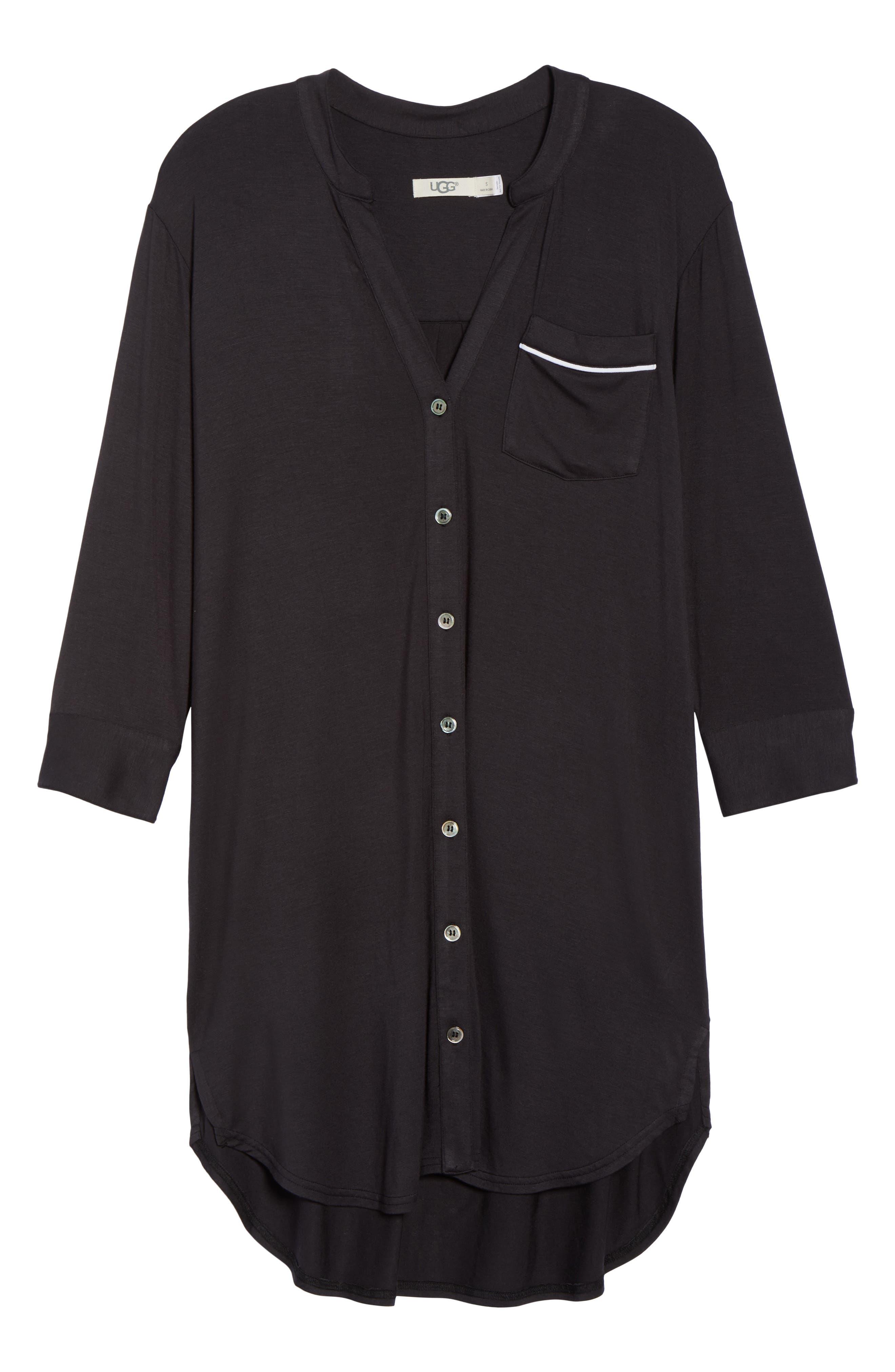 UGG<SUP>®</SUP>, Vivian Sleep Shirt, Alternate thumbnail 6, color, BLACK