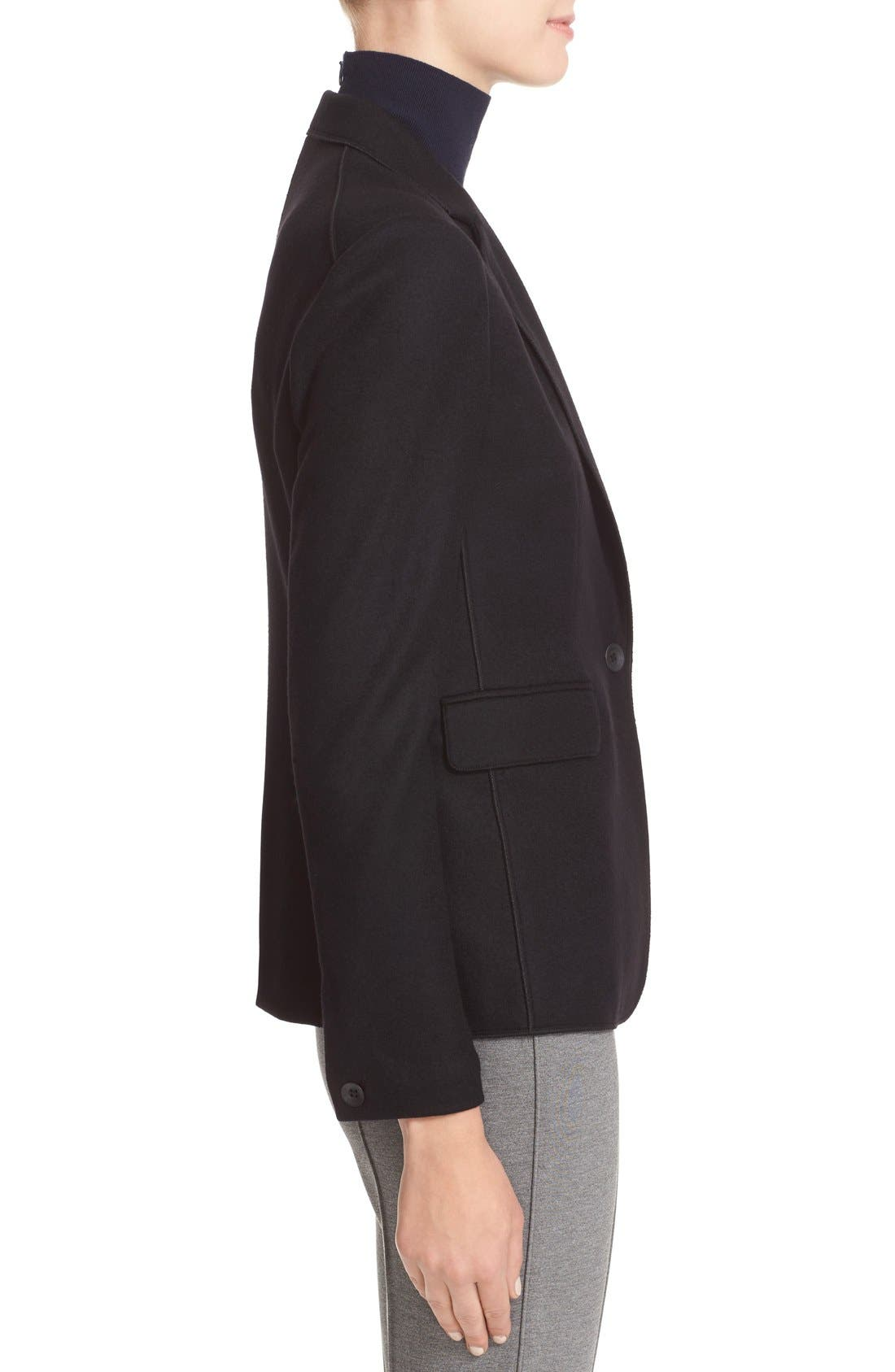 RAG & BONE, Club Wool Blazer, Alternate thumbnail 6, color, BLACK
