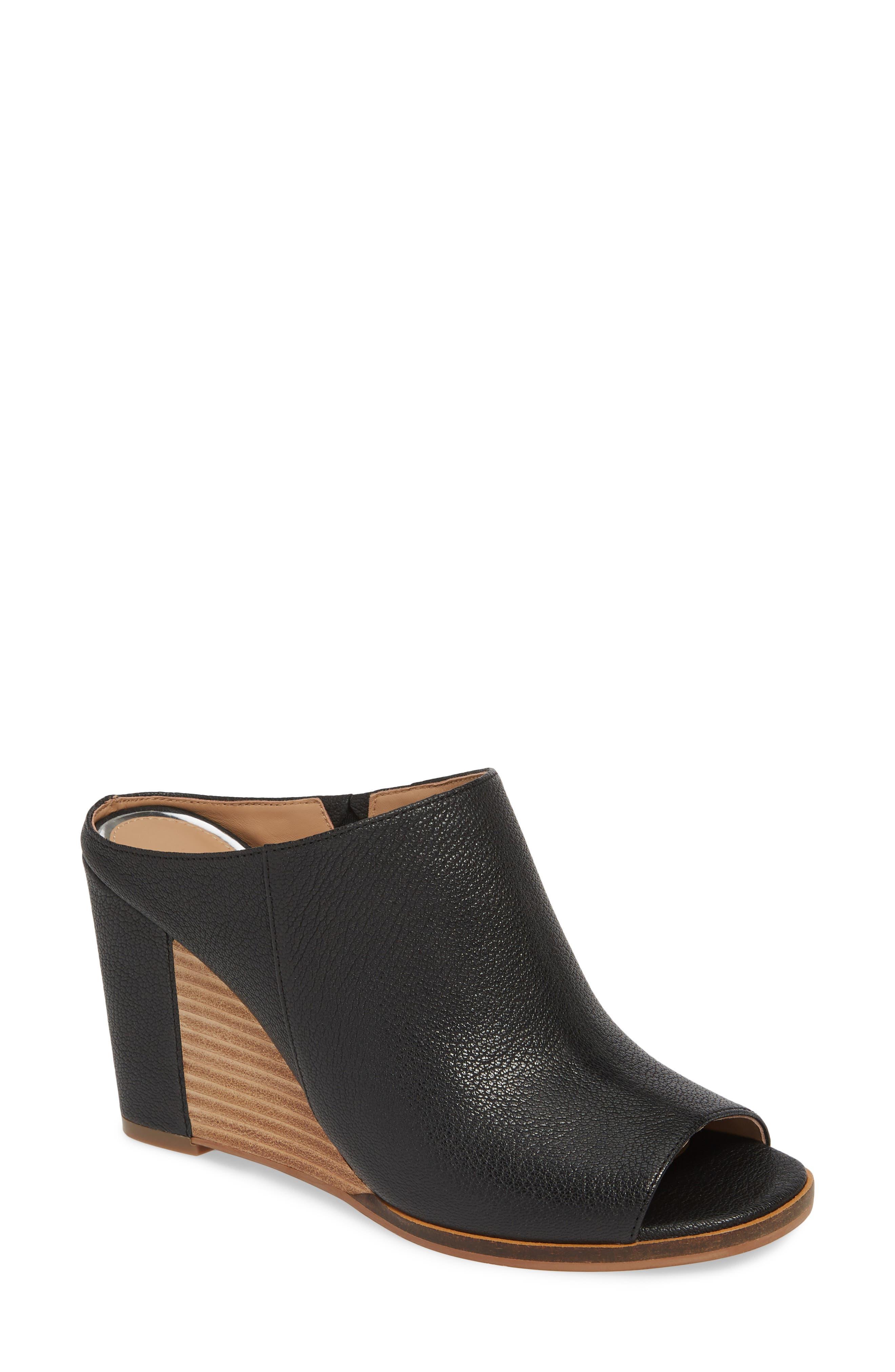 LINEA PAOLO Gaia Wedge Sandal, Main, color, BLACK LEATHER