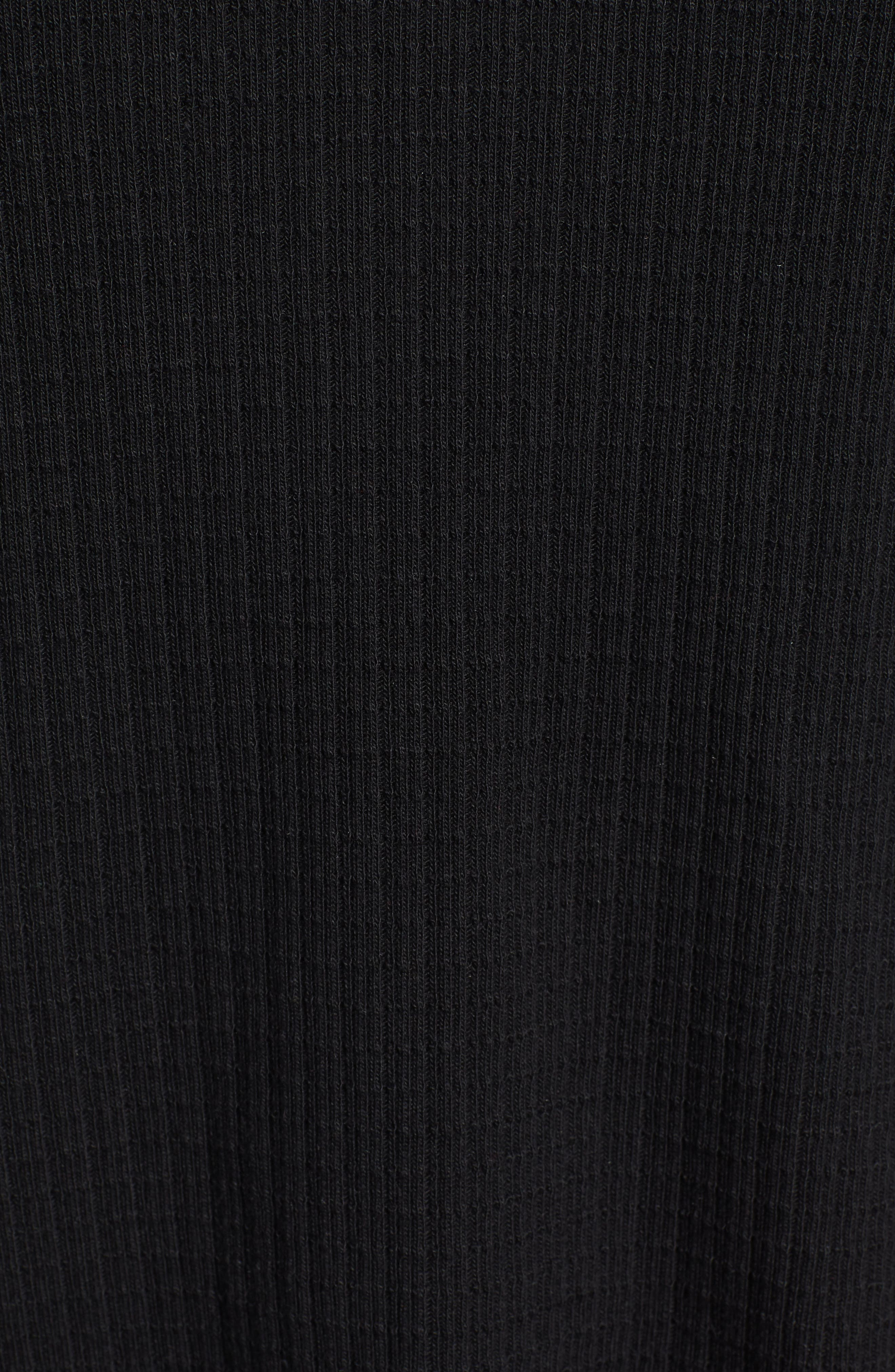 CASLON<SUP>®</SUP>, Off-Duty Waffle Knit Tee, Alternate thumbnail 5, color, BLACK