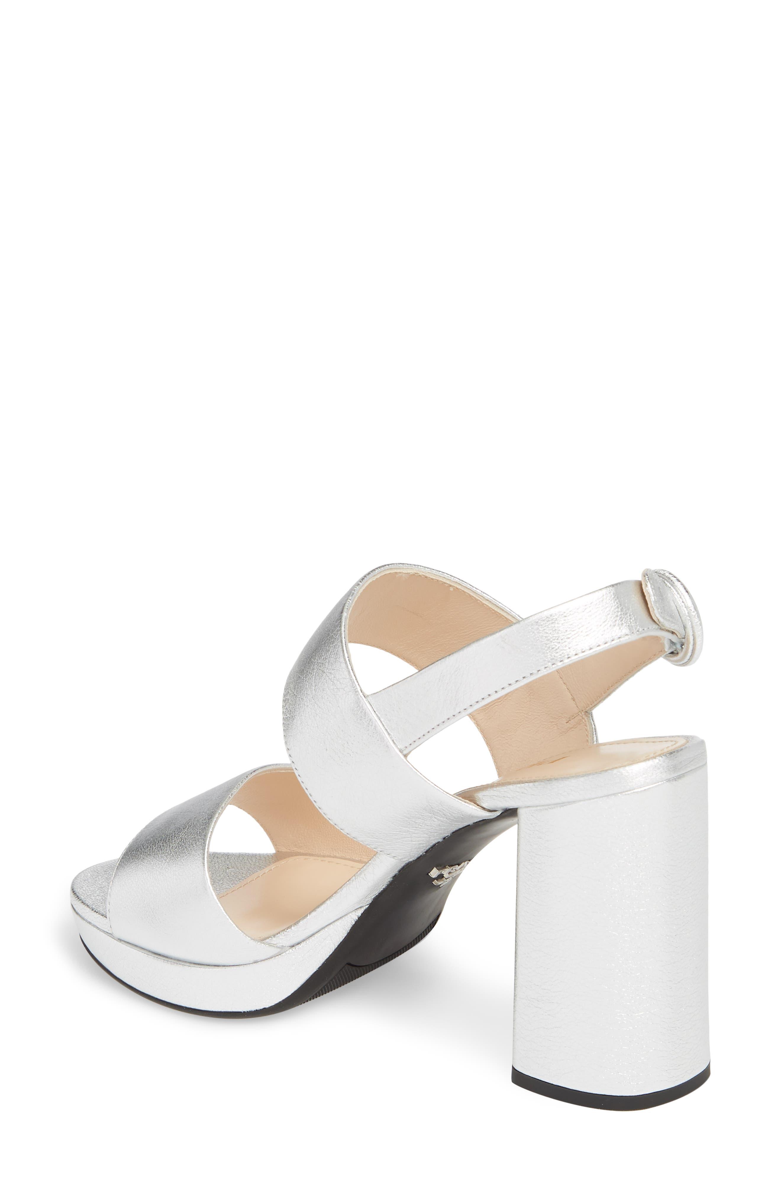 PRADA, Double Band Platform Sandal, Alternate thumbnail 2, color, SILVER