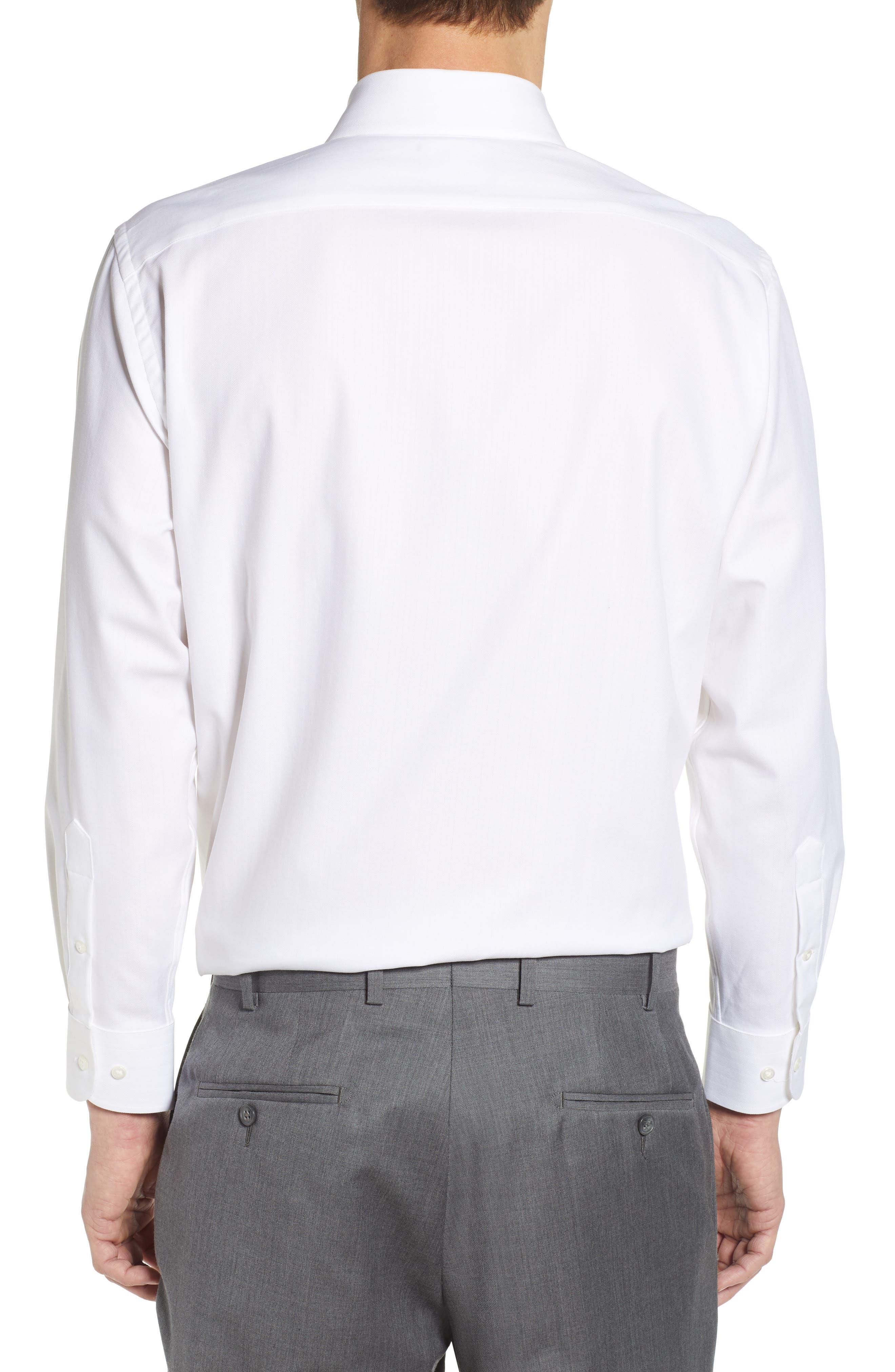 NORDSTROM MEN'S SHOP, Tech-Smart Traditional Fit Stretch Herringbone Dress Shirt, Alternate thumbnail 3, color, WHITE