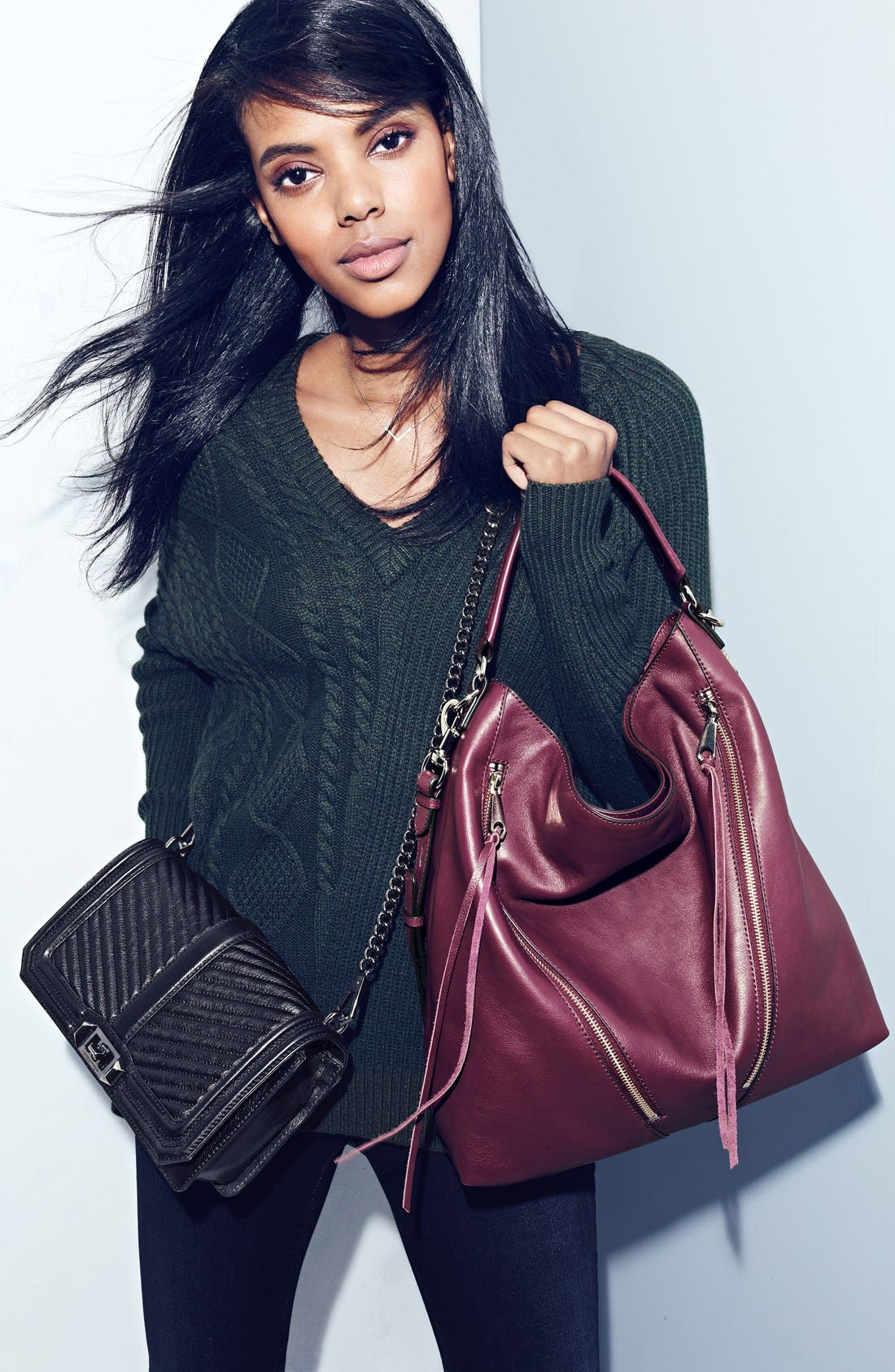 REBECCA MINKOFF, 'Chevron Quilted Love' Crossbody Bag, Alternate thumbnail 10, color, ICE GREY