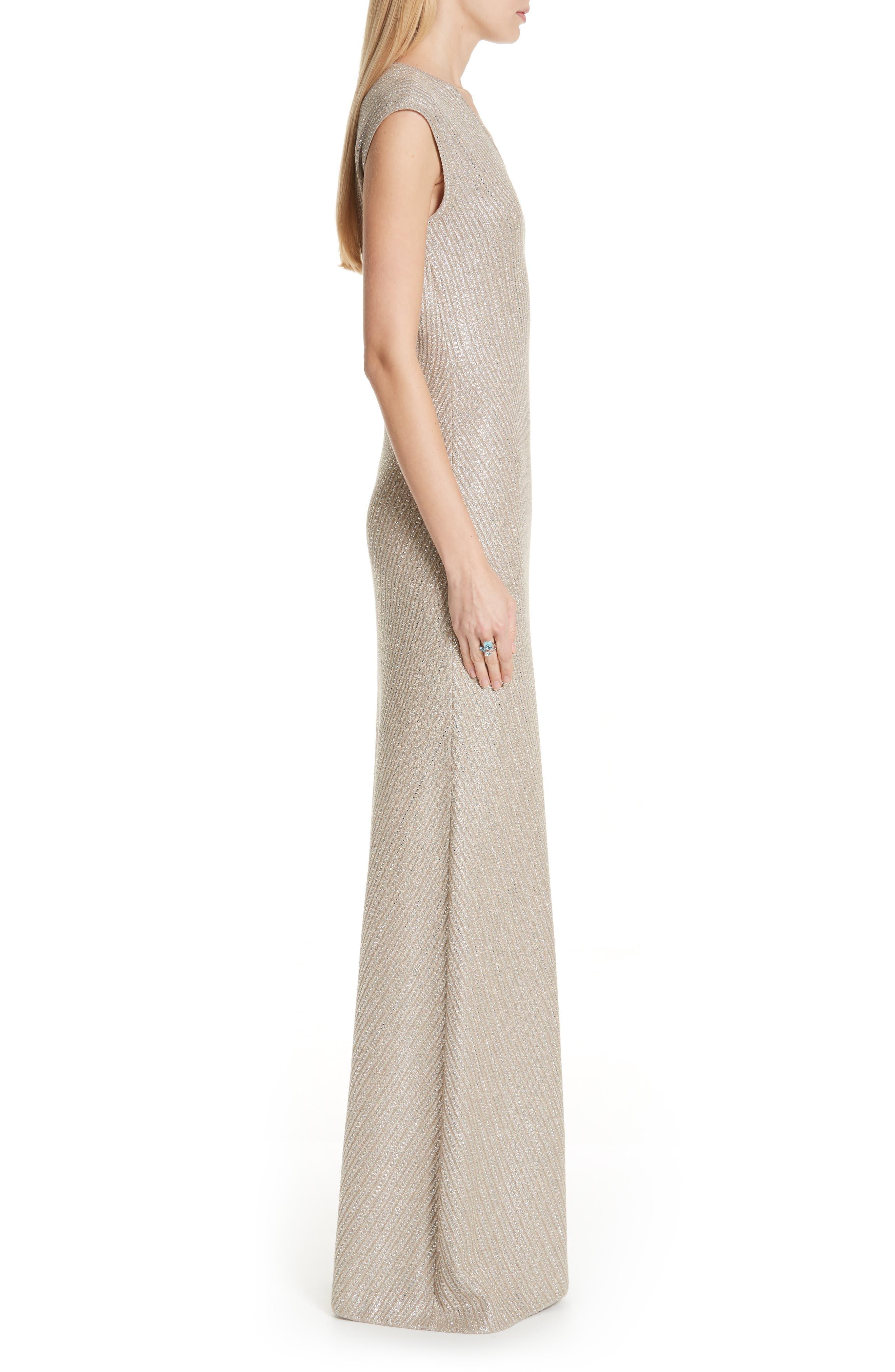 ST. JOHN COLLECTION, Brielle Knit V-Neck Gown, Alternate thumbnail 3, color, DARK KHAKI/ GOLD