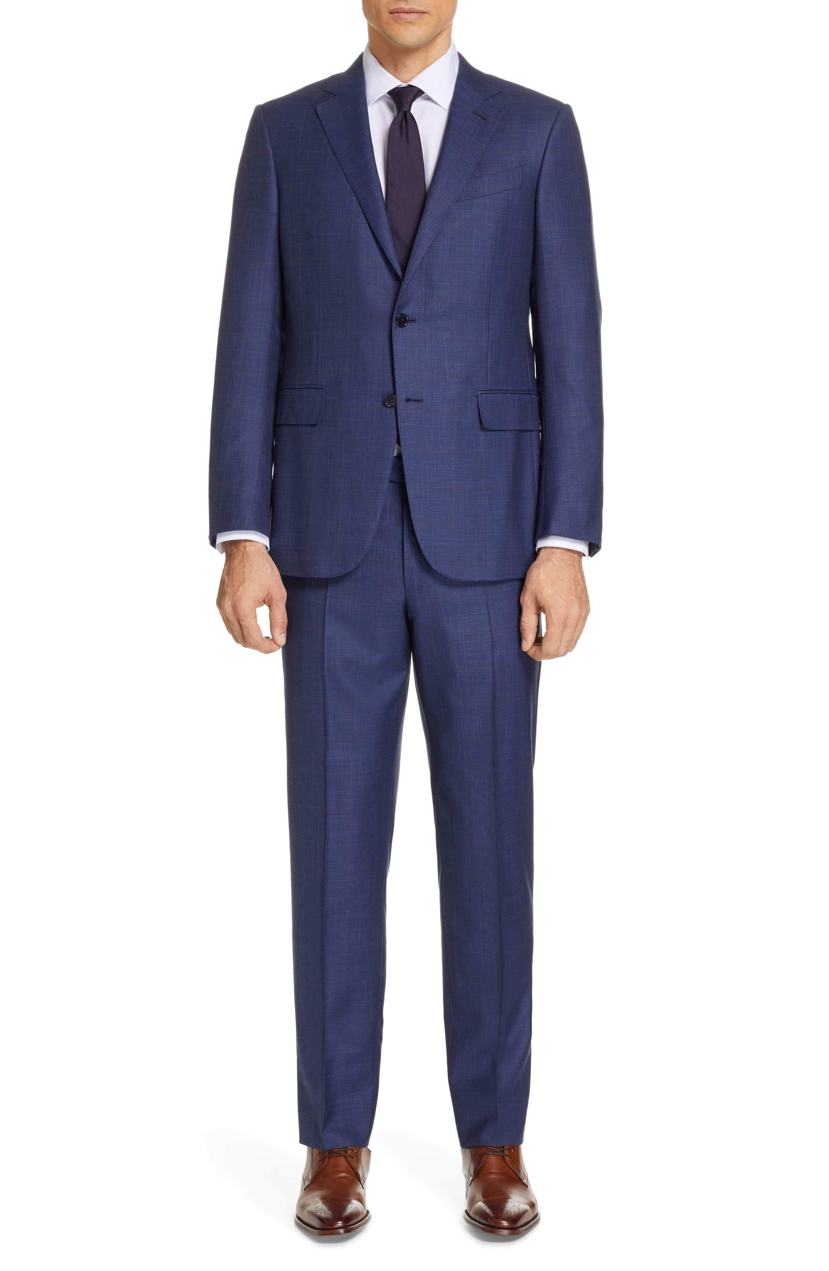 ERMENEGILDO ZEGNA, Trofeo Classic Fit Plaid Wool Blend Suit, Main thumbnail 1, color, TAN