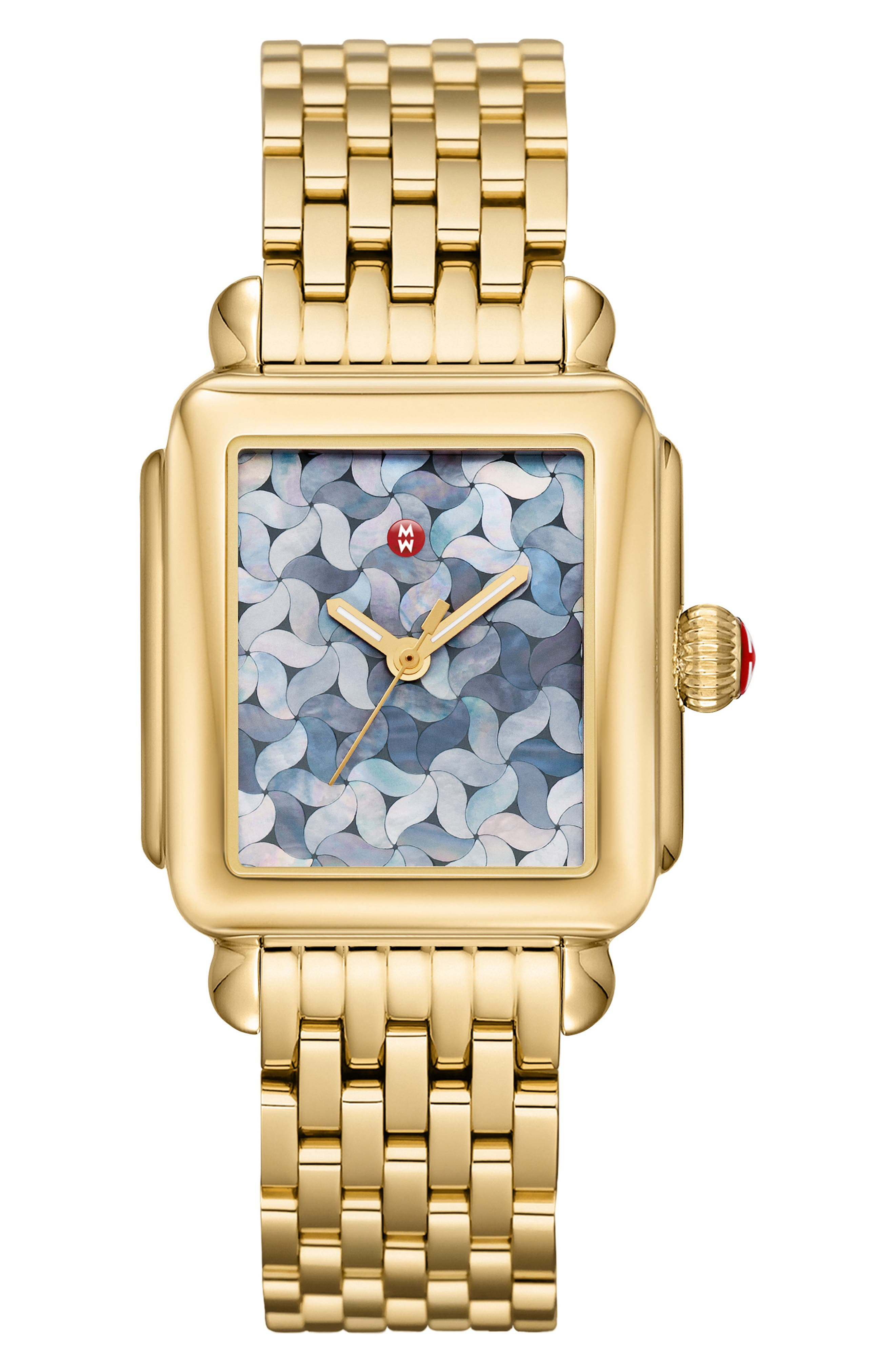 MICHELE, Deco Mosaic Square Watch Head, 33mm x 35mm, Main thumbnail 1, color, GOLD/ GREY MOP