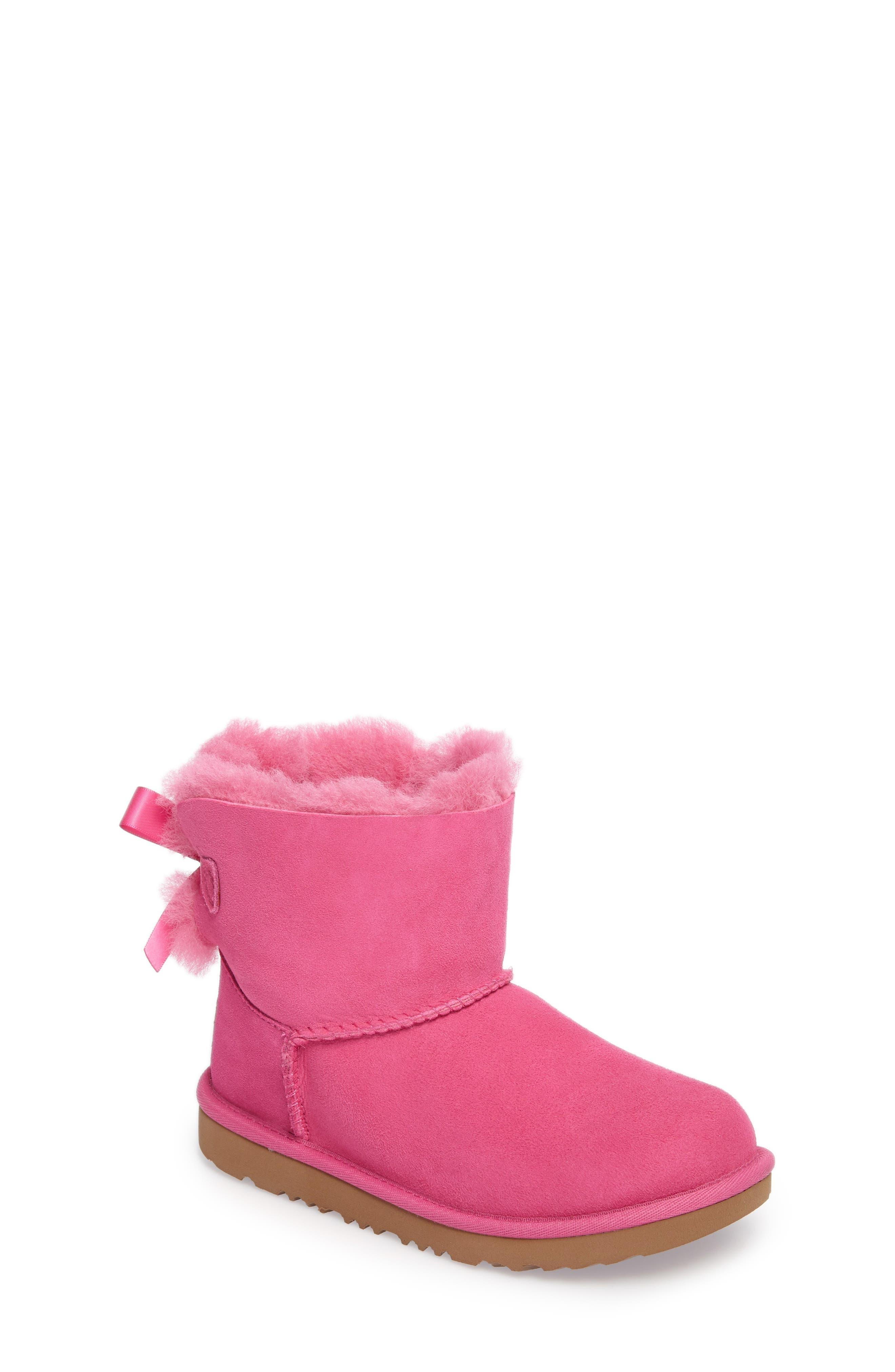 UGG<SUP>®</SUP>, Mini Bailey Bow II Water Resistant Boot, Main thumbnail 1, color, PINK AZALEA