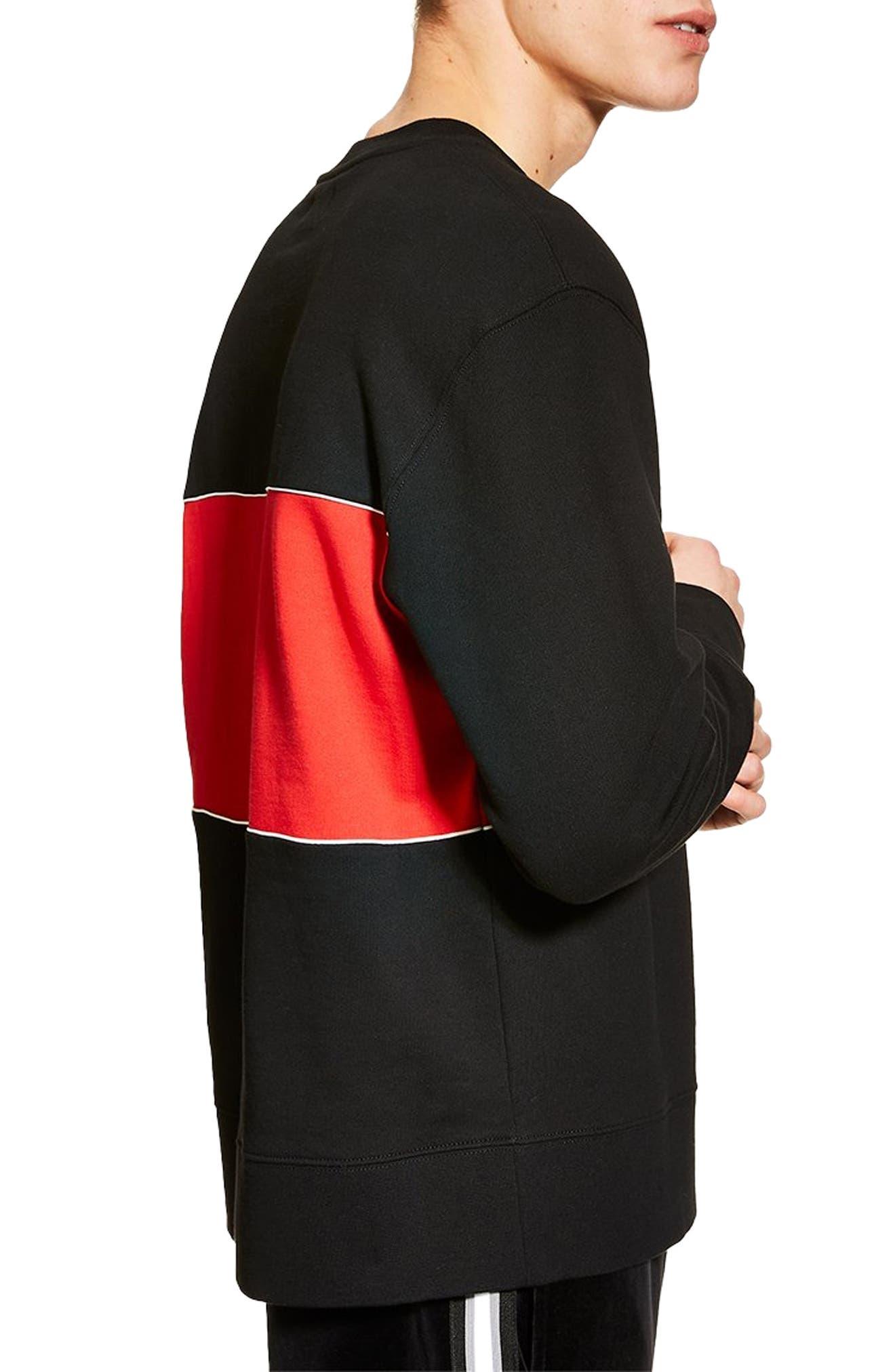TOPMAN, Colorblock Longline Crewneck Sweatshirt, Alternate thumbnail 3, color, BLACK