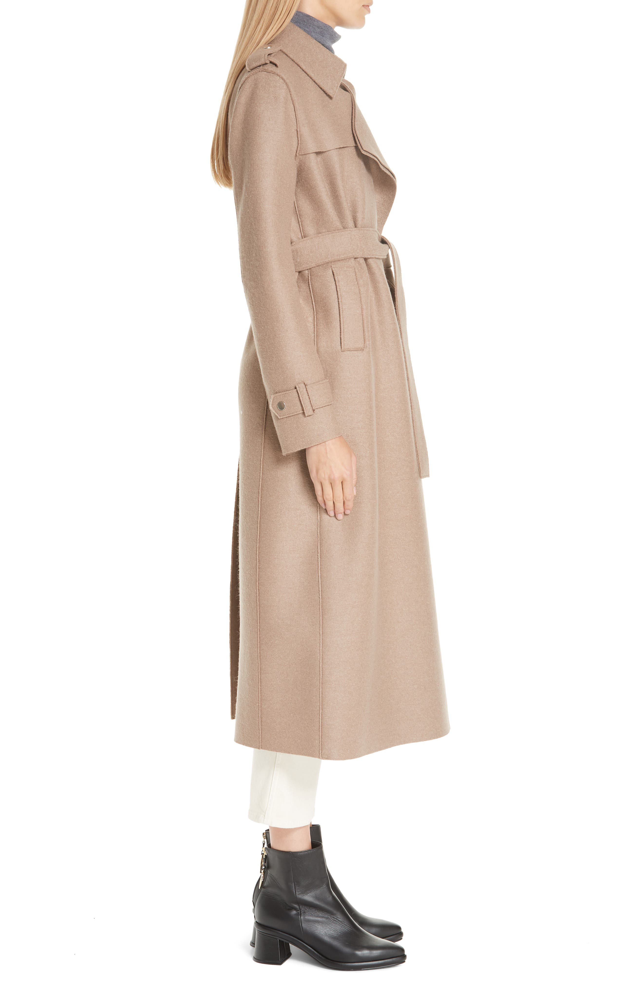 HARRIS WHARF LONDON, Long Belted Trench, Alternate thumbnail 5, color, CAMEL