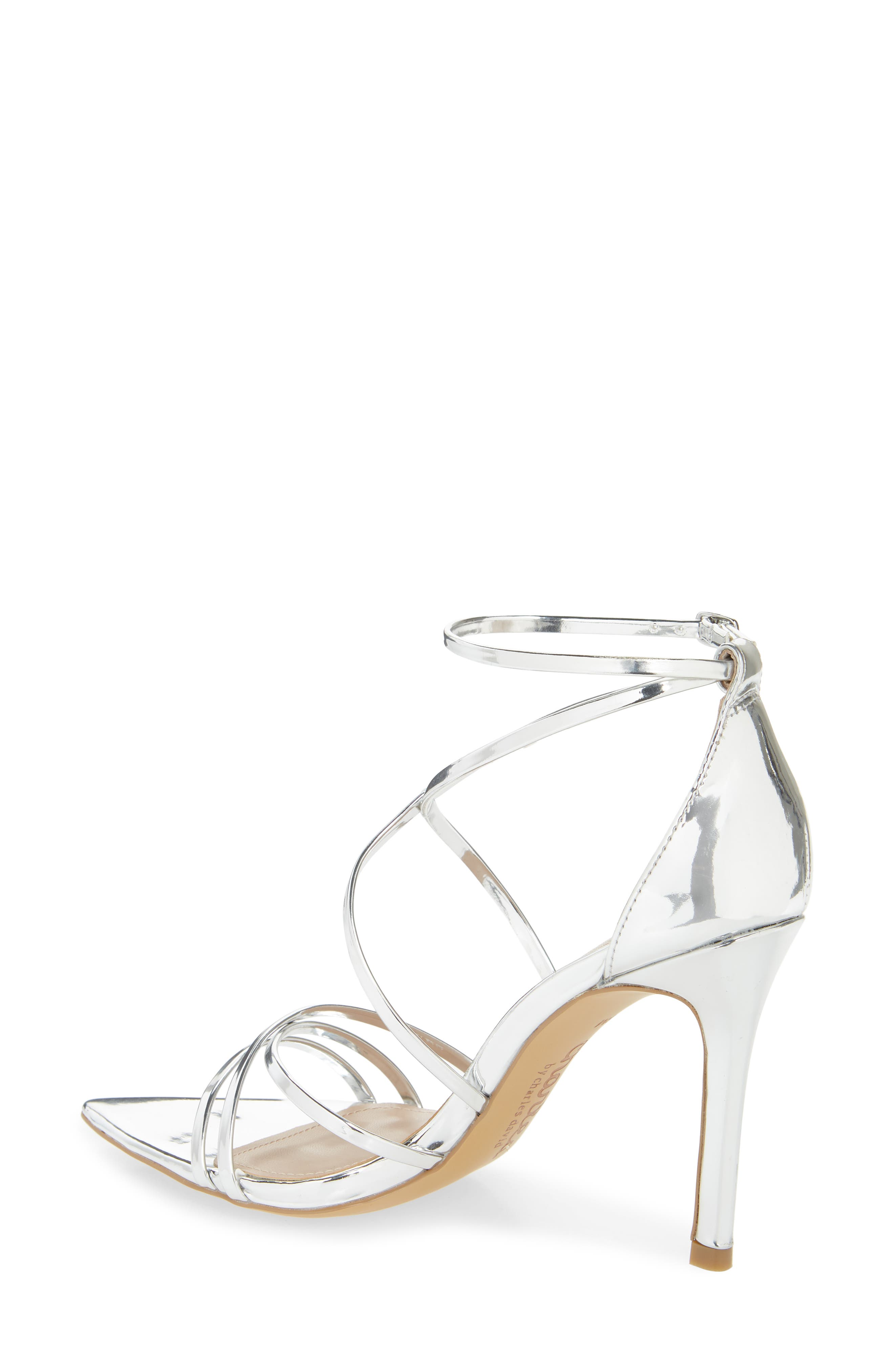 CHARLES BY CHARLES DAVID, Trickster Strappy Sandal, Alternate thumbnail 2, color, SILVER FAUX LEATHER