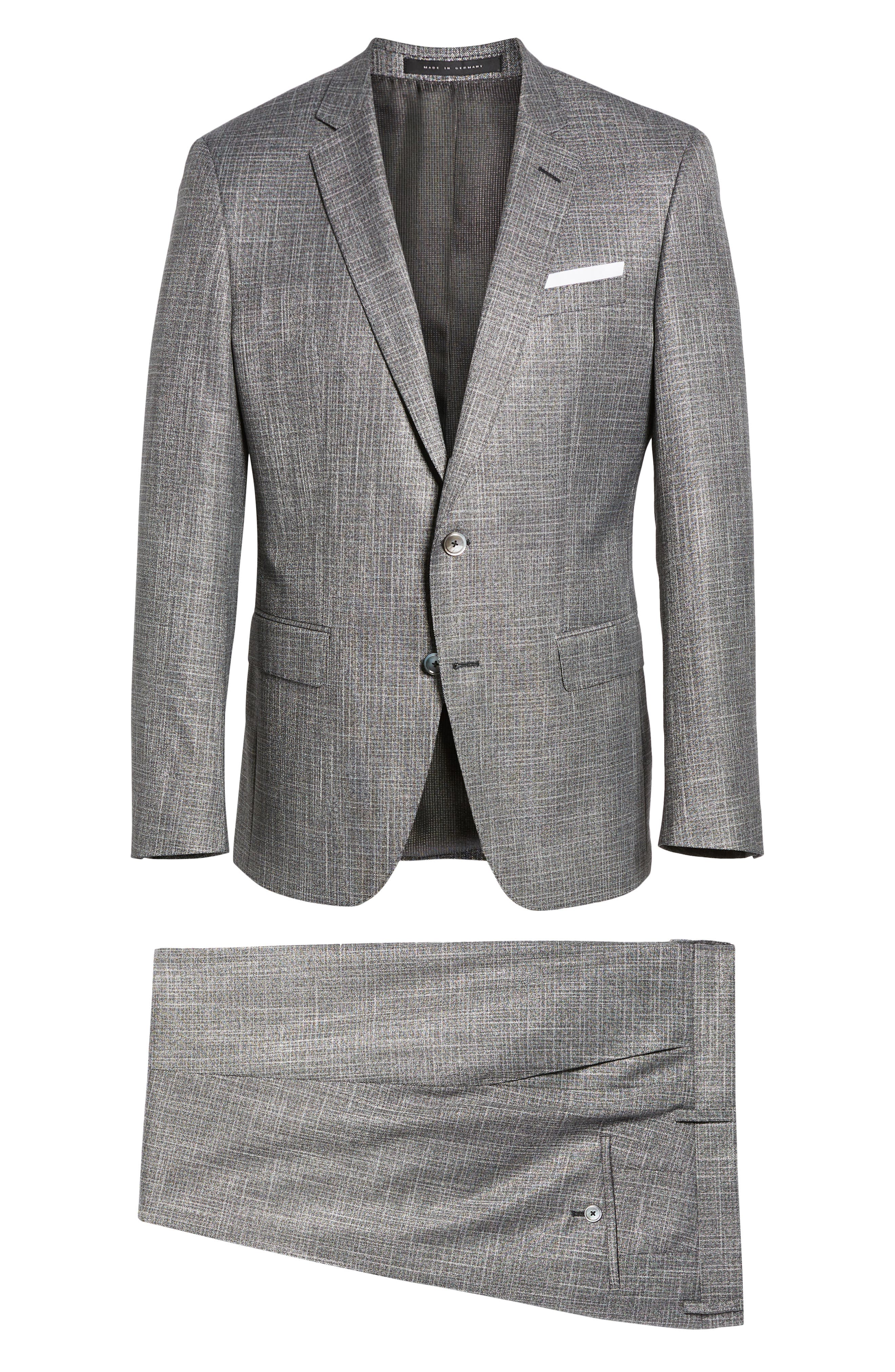 BOSS, Hutson/Gander Slim Fit Solid Wool Blend Suit, Alternate thumbnail 8, color, MEDIUM GREY