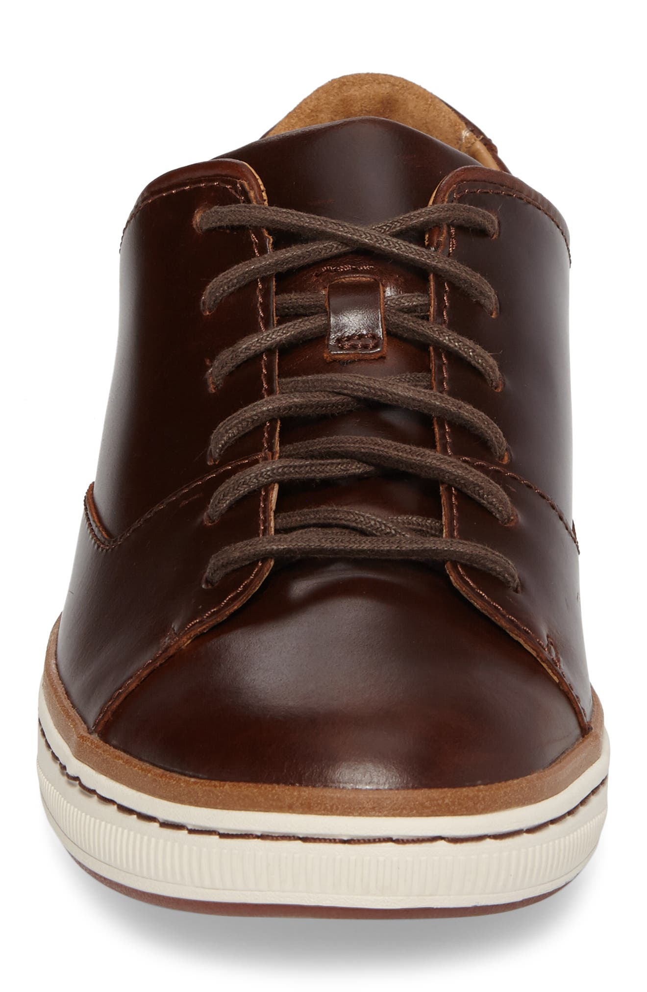 CLARKS<SUP>®</SUP>, Norsen Lace Sneaker, Alternate thumbnail 4, color, DARK TAN LEATHER