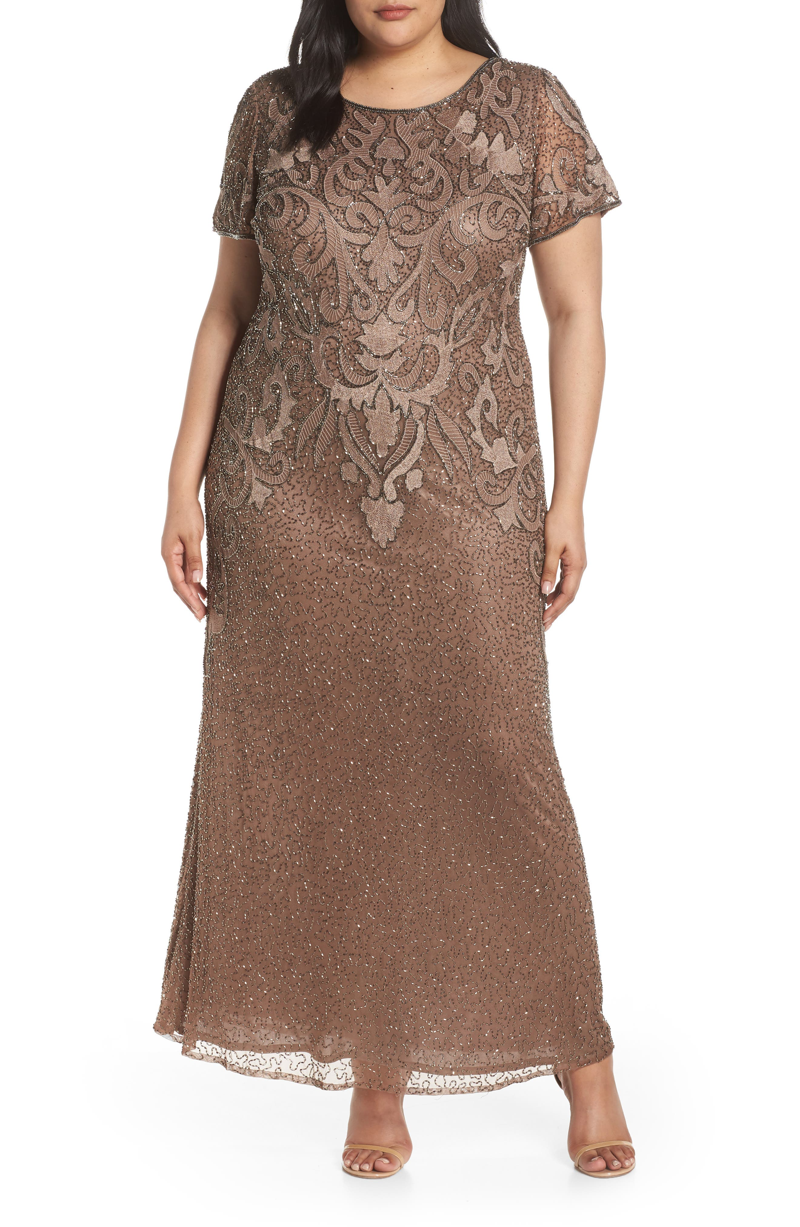 Plus Size Pisarro Nights Baroque Embellished Trumpet Gown, Brown