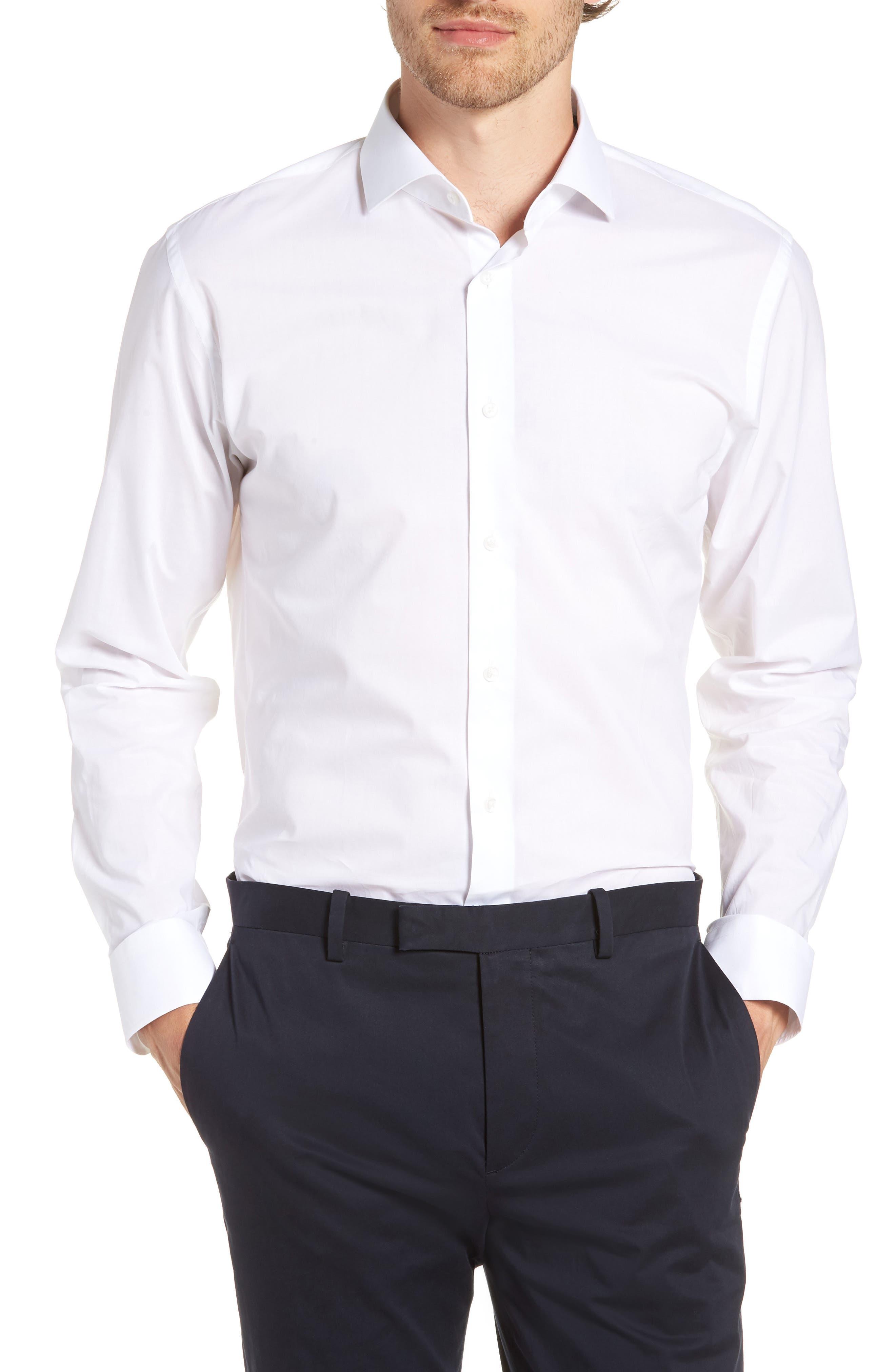 1901, Trim Fit Solid Dress Shirt, Main thumbnail 1, color, WHITE