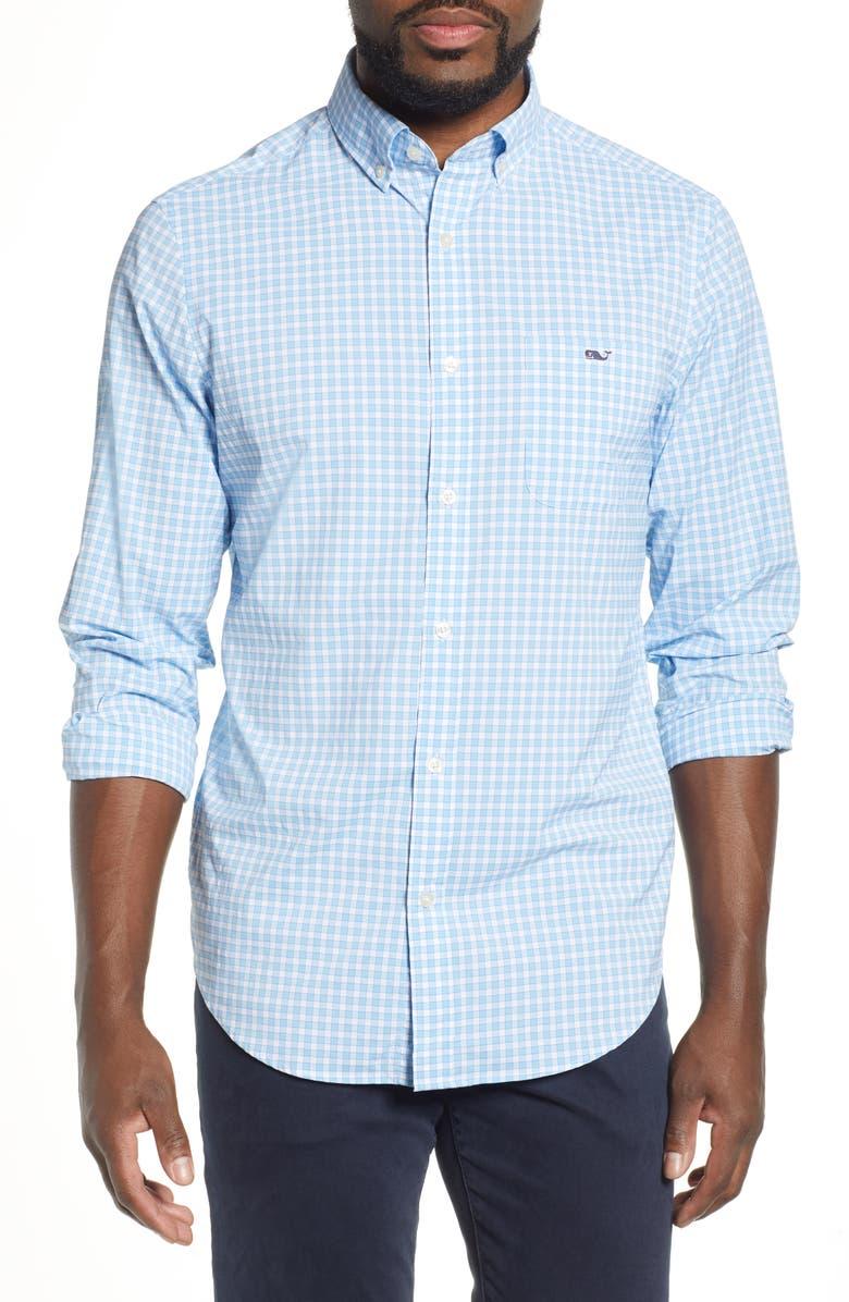 046c0639b VINEYARD VINES Bermuda Tucker Regular Fit Performance Sport Shirt, Main,  color, JAKE BLUE