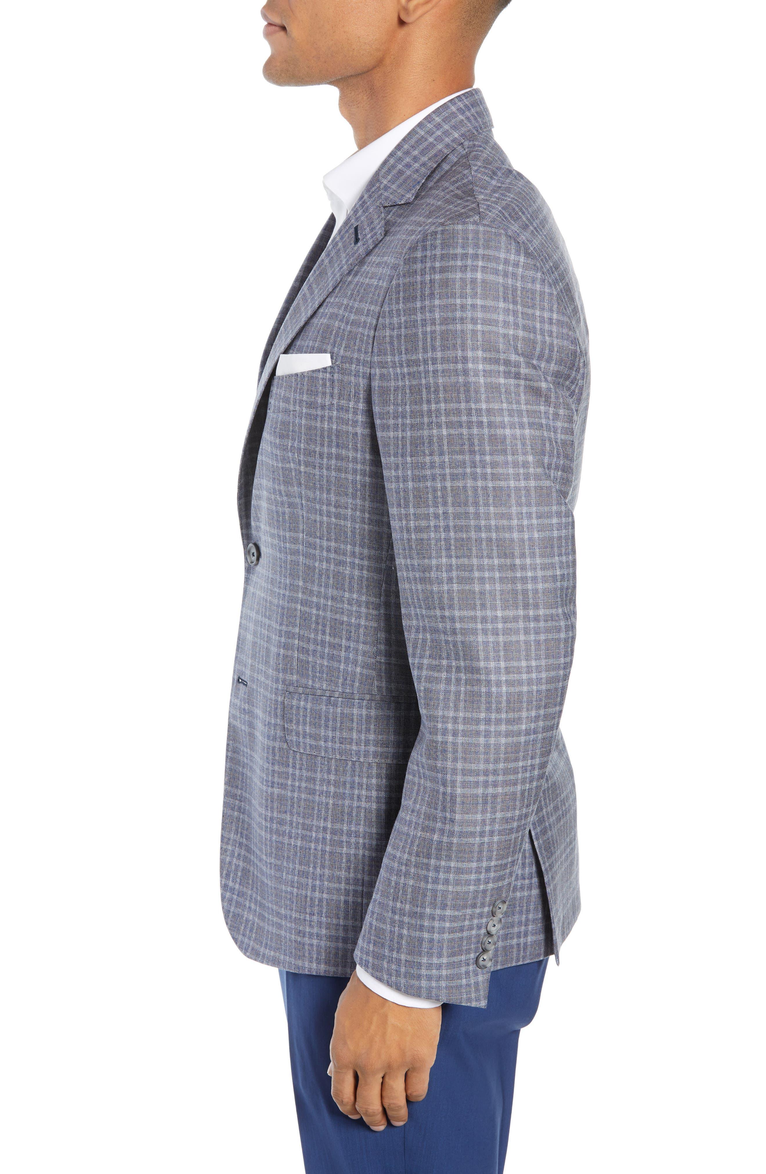 JOHN W. NORDSTROM<SUP>®</SUP>, Classic Fit Plaid Wool Sport Coat, Alternate thumbnail 3, color, 420