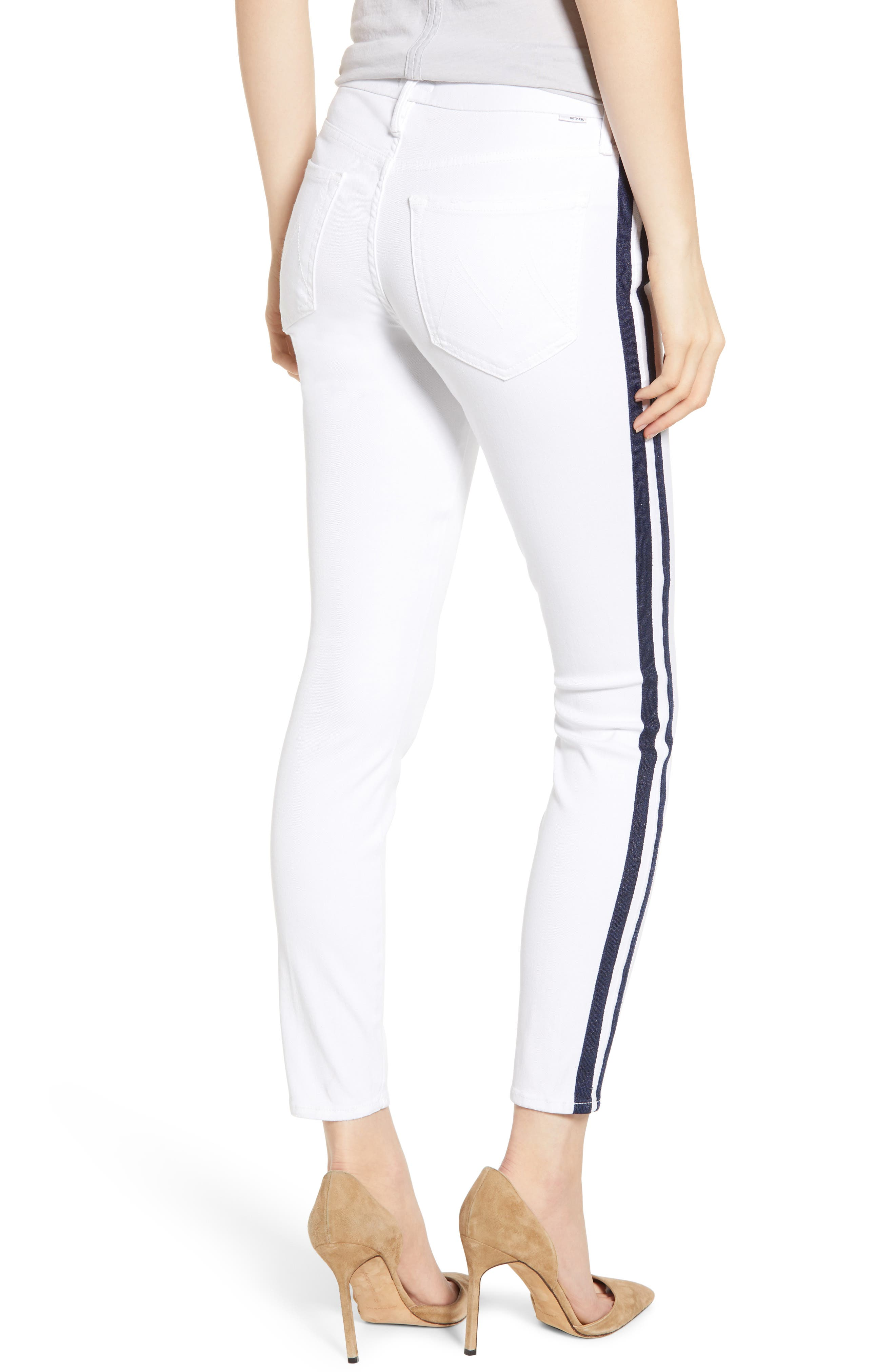 MOTHER, The Looker Stripe Ankle Skinny Jeans, Alternate thumbnail 2, color, 100