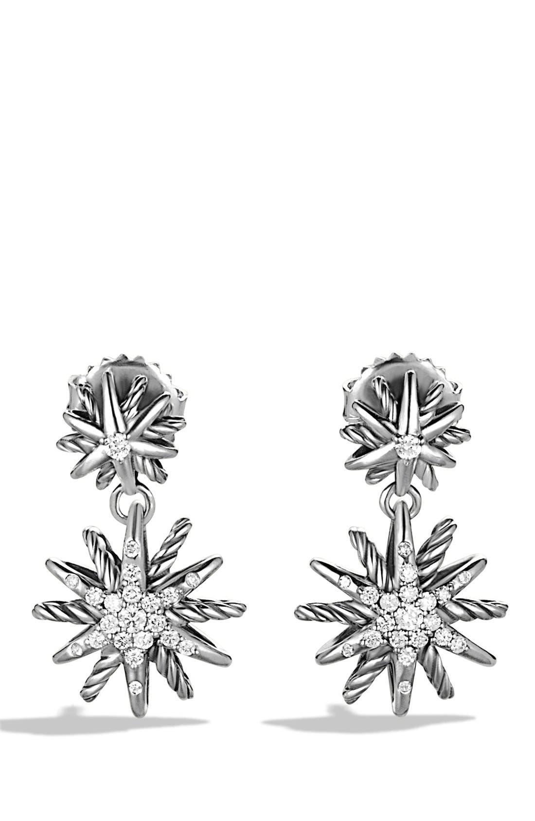 DAVID YURMAN, 'Starburst' Double-Drop Earrings with Diamonds, Main thumbnail 1, color, DIAMOND