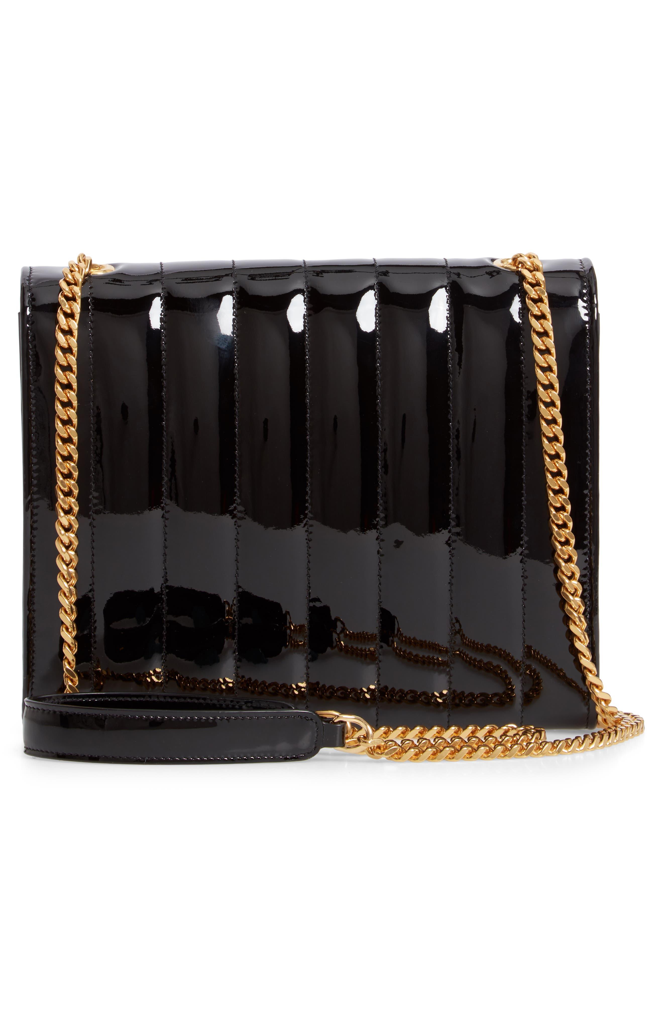 SAINT LAURENT, Vicky Patent Leather Wallet on a Chain, Alternate thumbnail 3, color, NOIR/ NOIR
