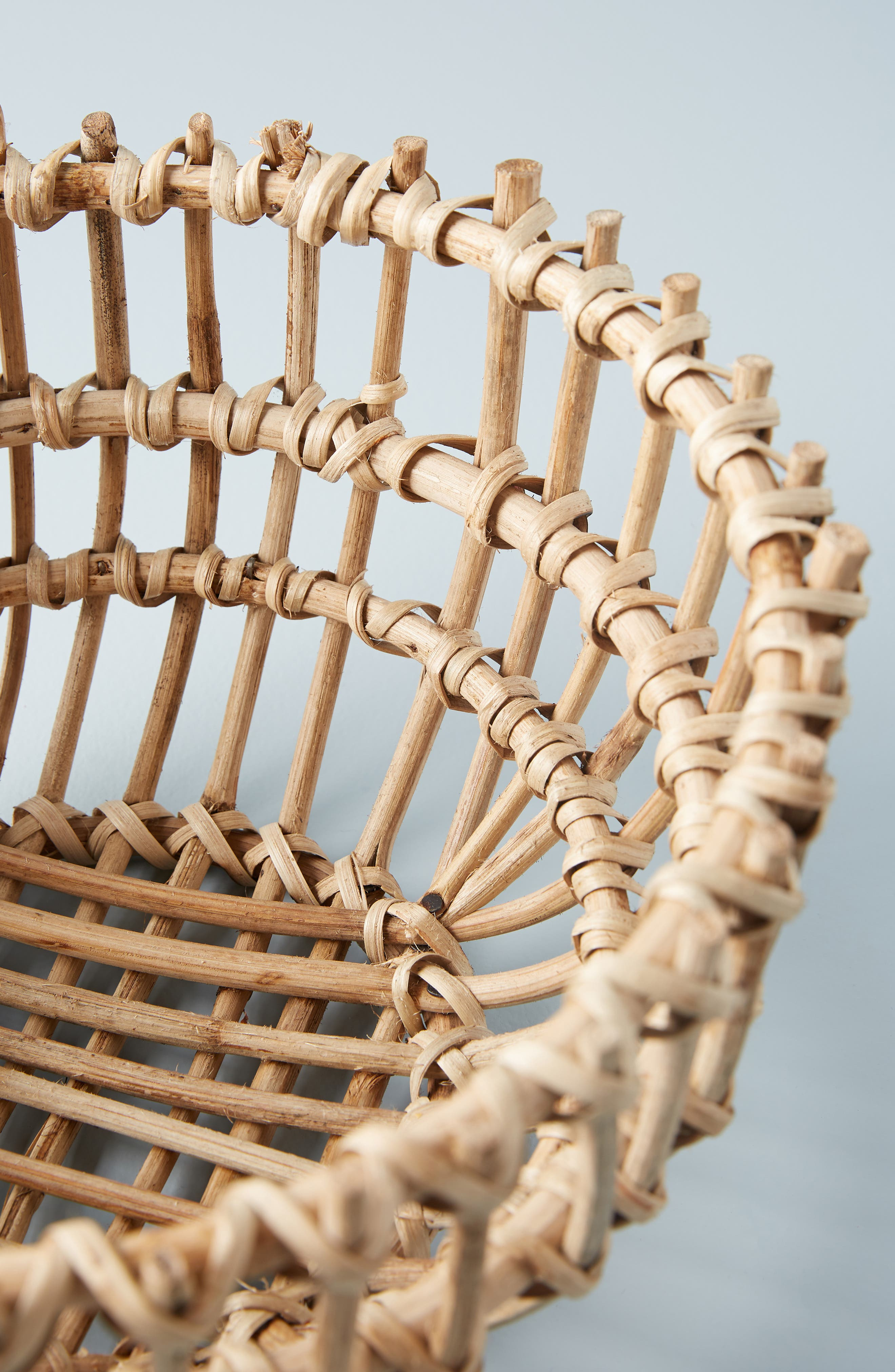 ANTHROPOLOGIE, Anthropology Woven Wooden Basket, Alternate thumbnail 2, color, BROWN