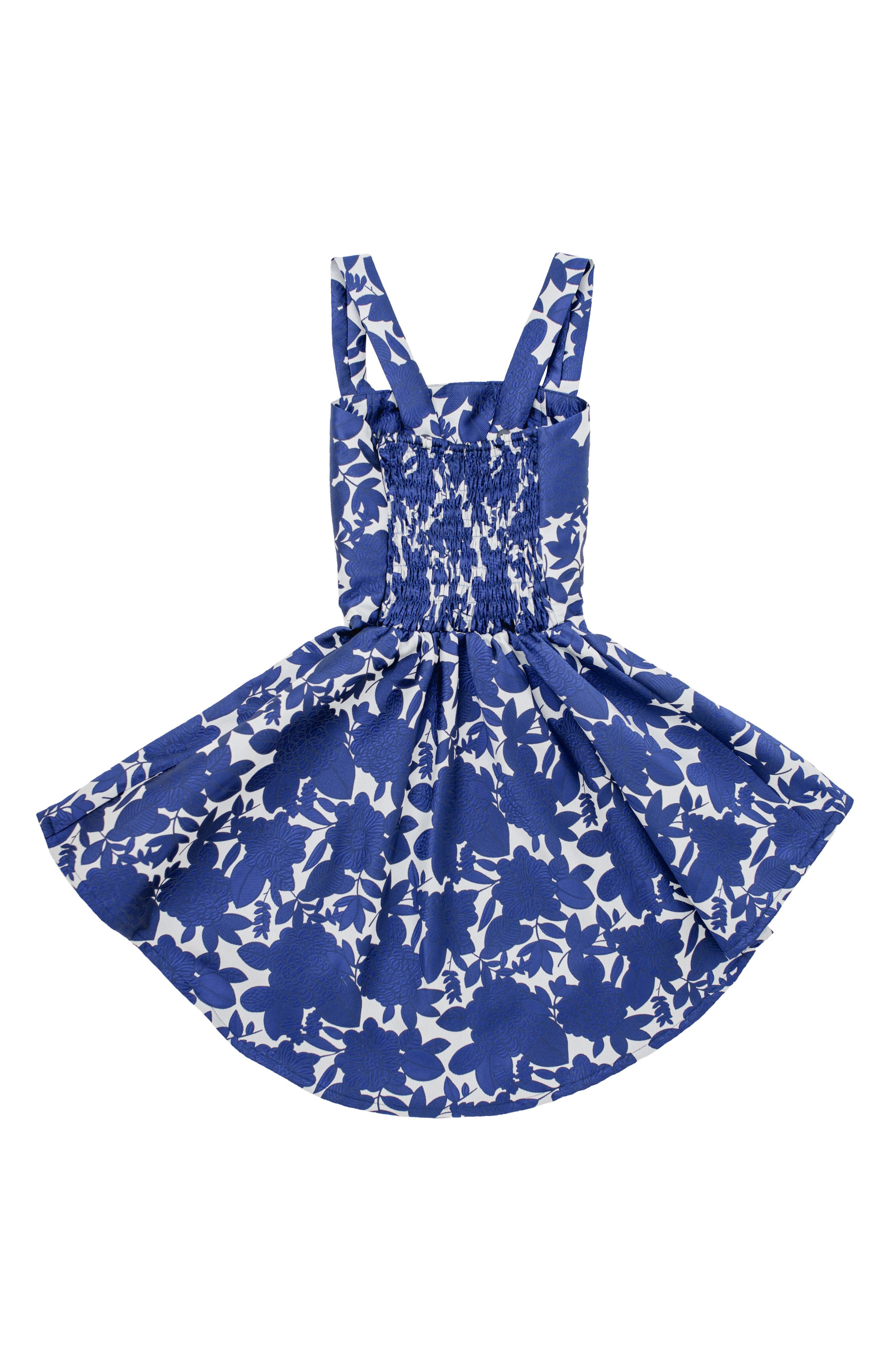 STELLA M'LIA, Fit and Flare High/Low Skater Dress, Alternate thumbnail 2, color, NAVY