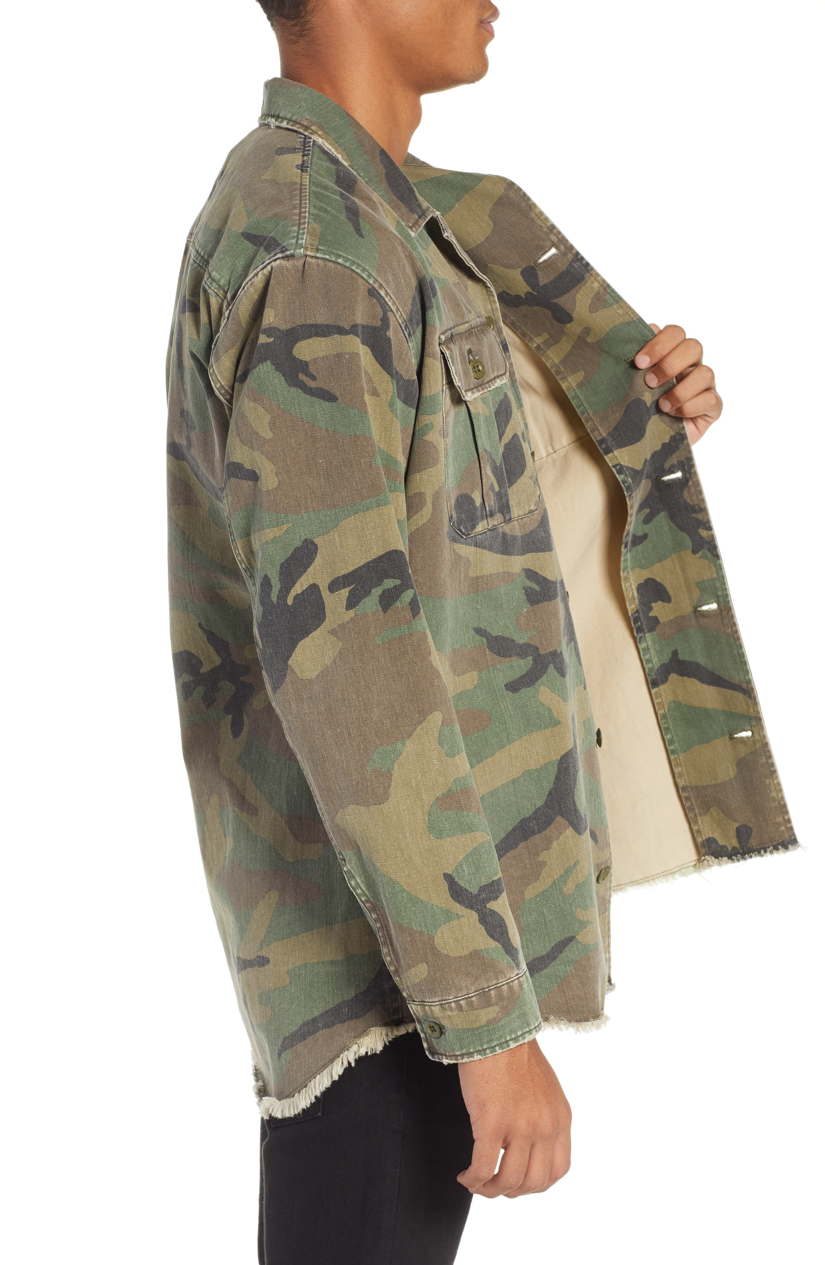 THE KOOPLES, Camou Classic Fit Twill Shirt Jacket, Alternate thumbnail 4, color, CAMOUFLAGE
