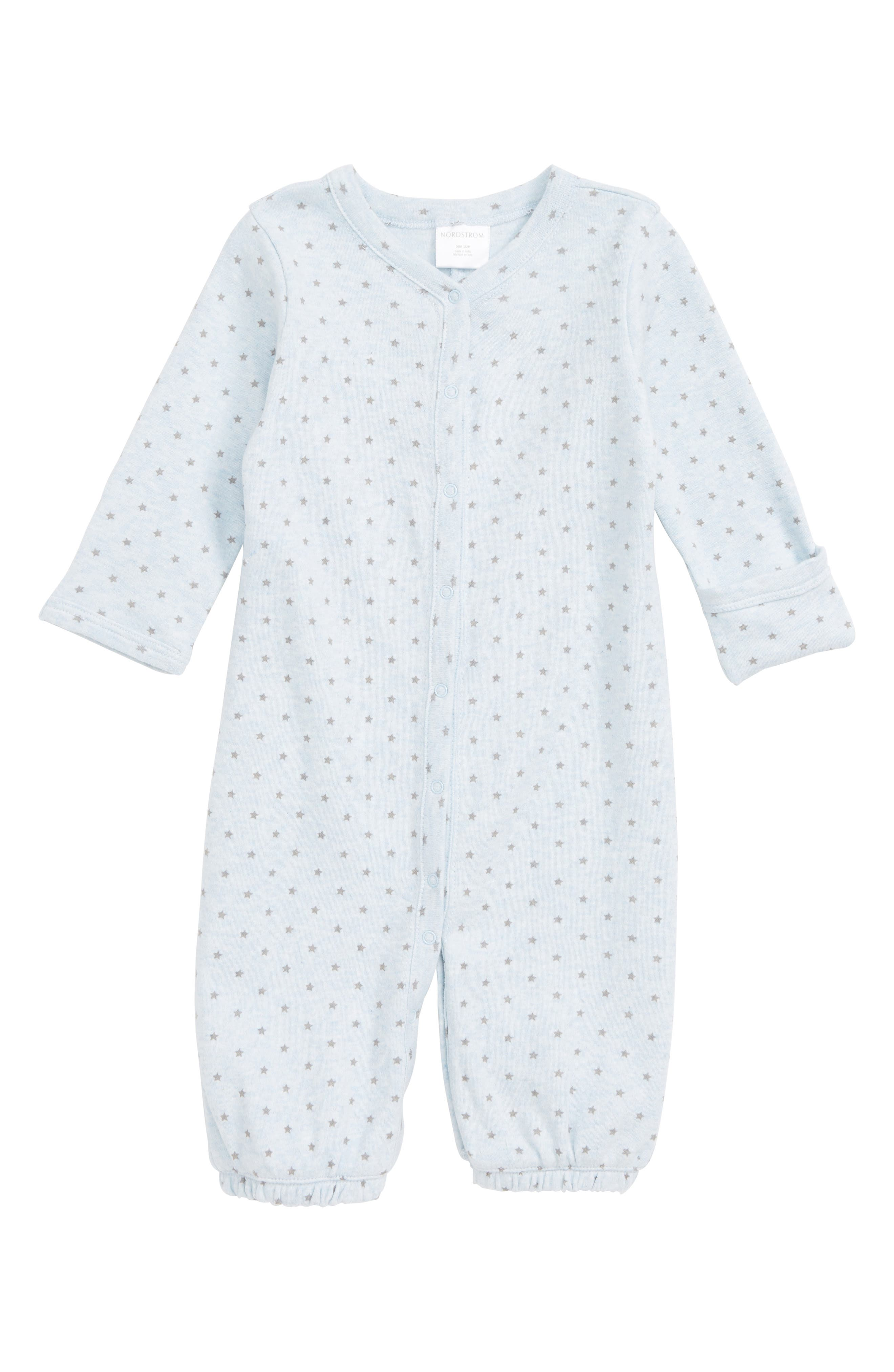NORDSTROM BABY, Convertible Gown, Alternate thumbnail 2, color, BLUE PRECIOUS HEATHER STARS