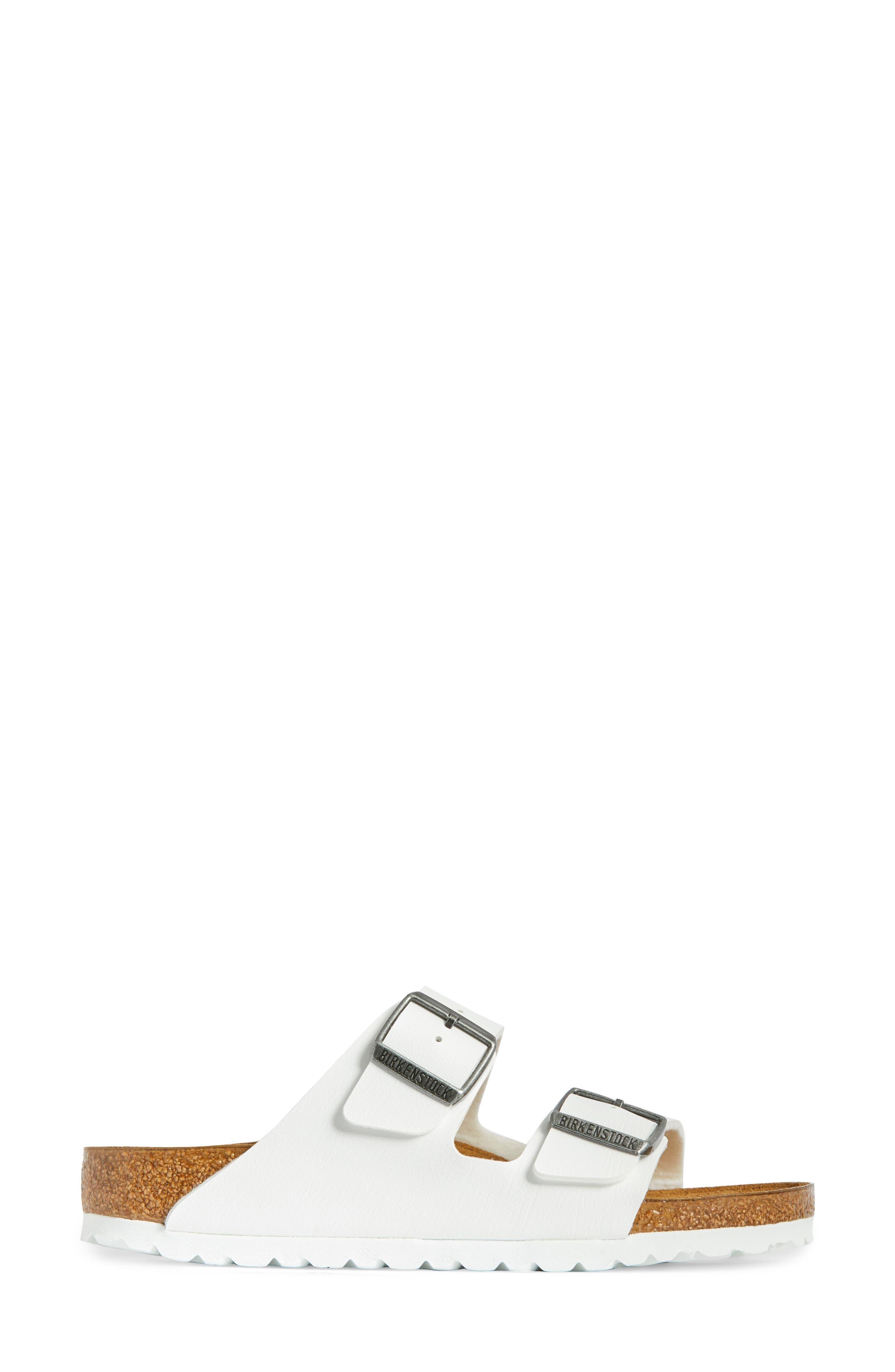 BIRKENSTOCK, 'Arizona' White Birko-Flor Sandal, Alternate thumbnail 3, color, WHITE SYNTHETIC LEATHER