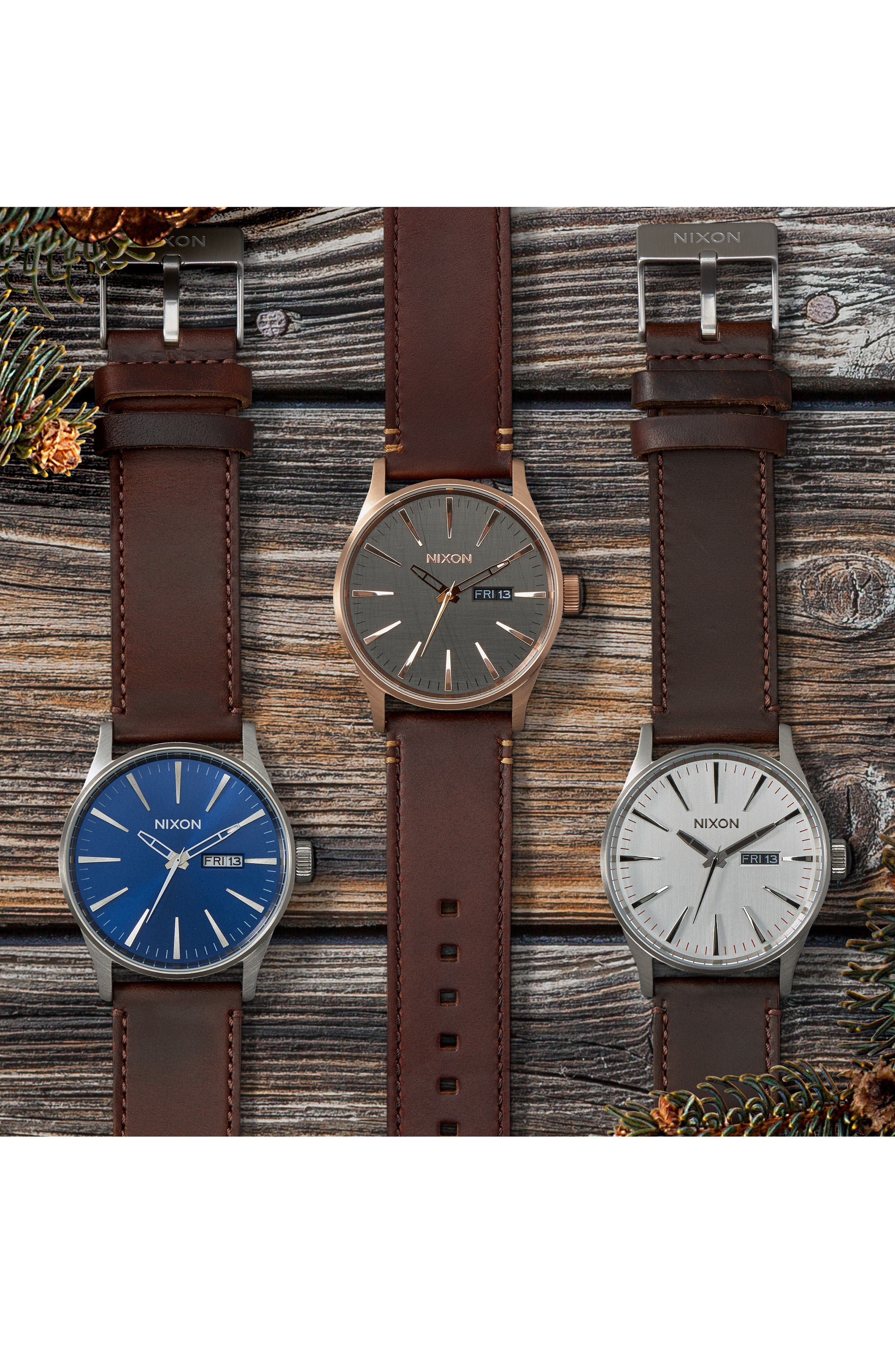 NIXON, 'The Sentry' Leather Strap Watch, 42mm, Alternate thumbnail 2, color, BROWN/ ROSE GOLD/ GUNMETAL