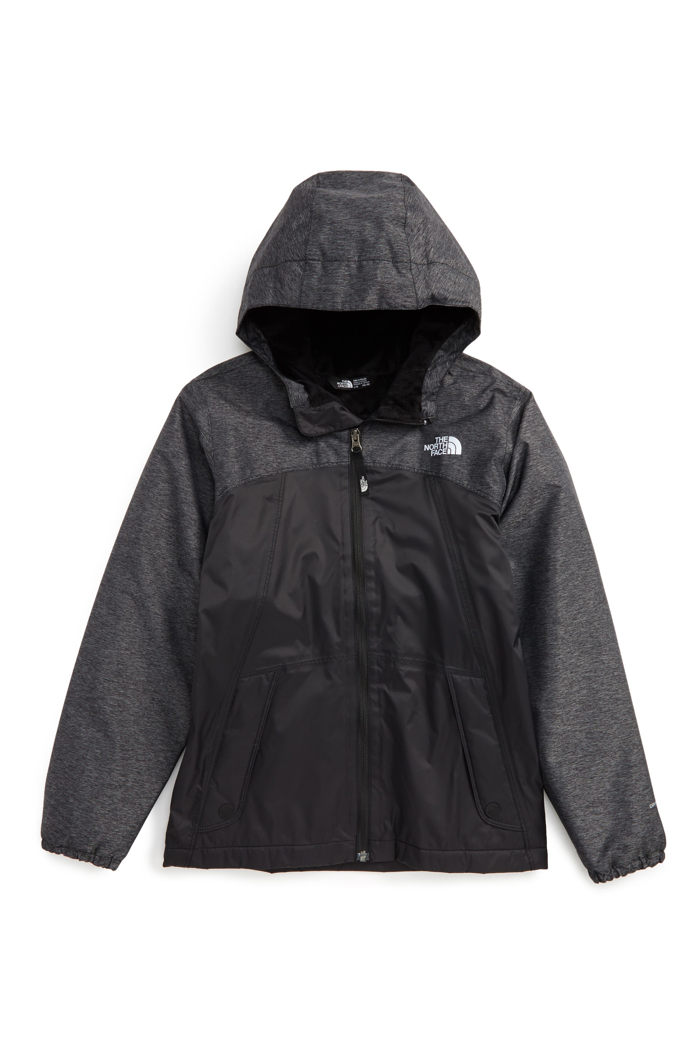 THE NORTH FACE, Warm Storm Hooded Waterproof Jacket, Main thumbnail 1, color, TNF BLACK