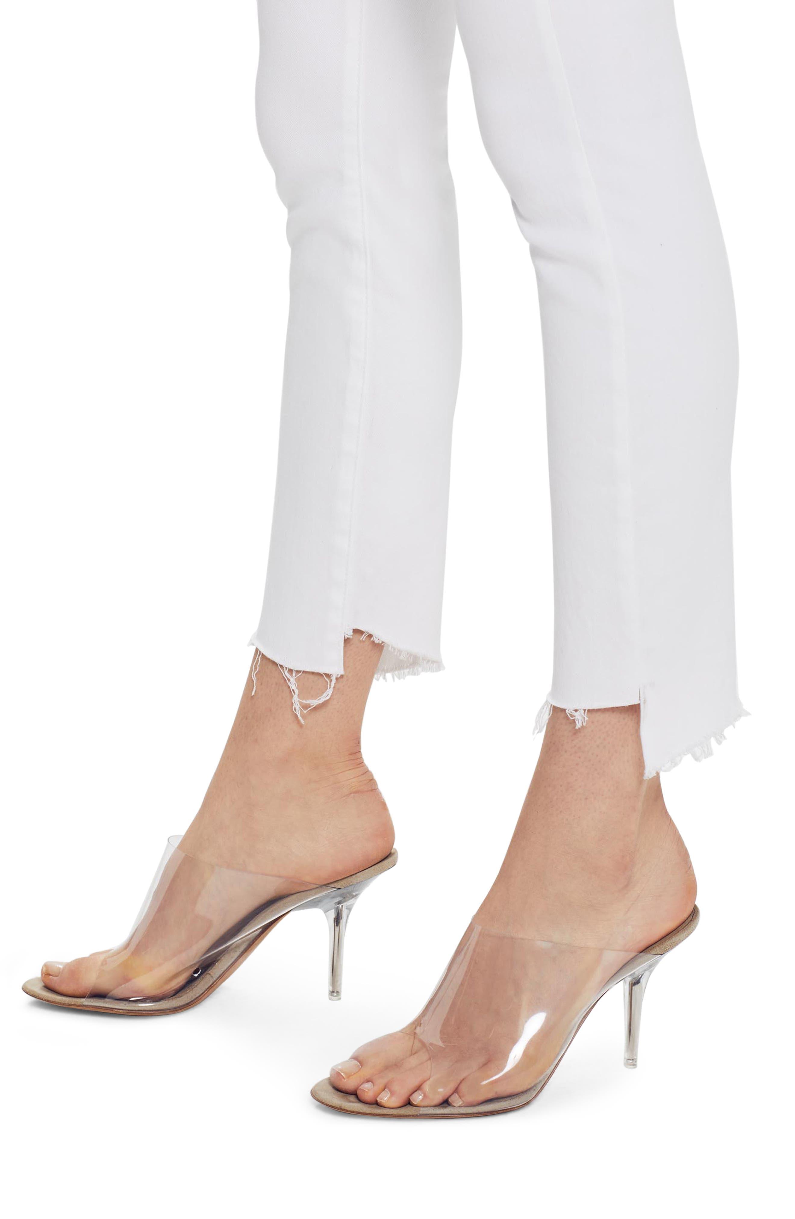MOTHER, The Stunner Frayed Step Hem Skinny Jeans, Alternate thumbnail 5, color, GLASS SLIPPER