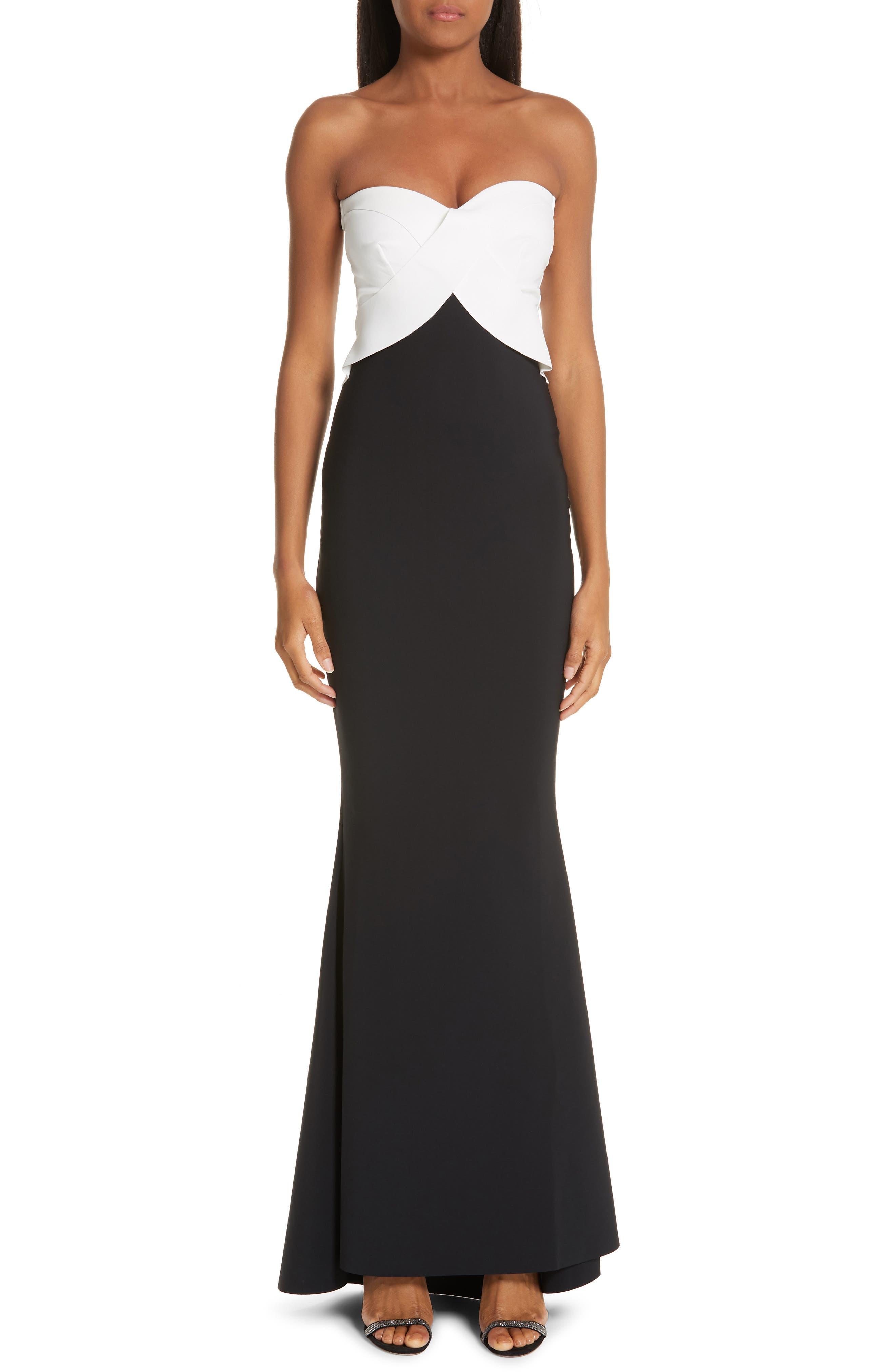 Chiara Boni La Petite Robe Strapless Colorblock Evening Dress, 50 IT - Black