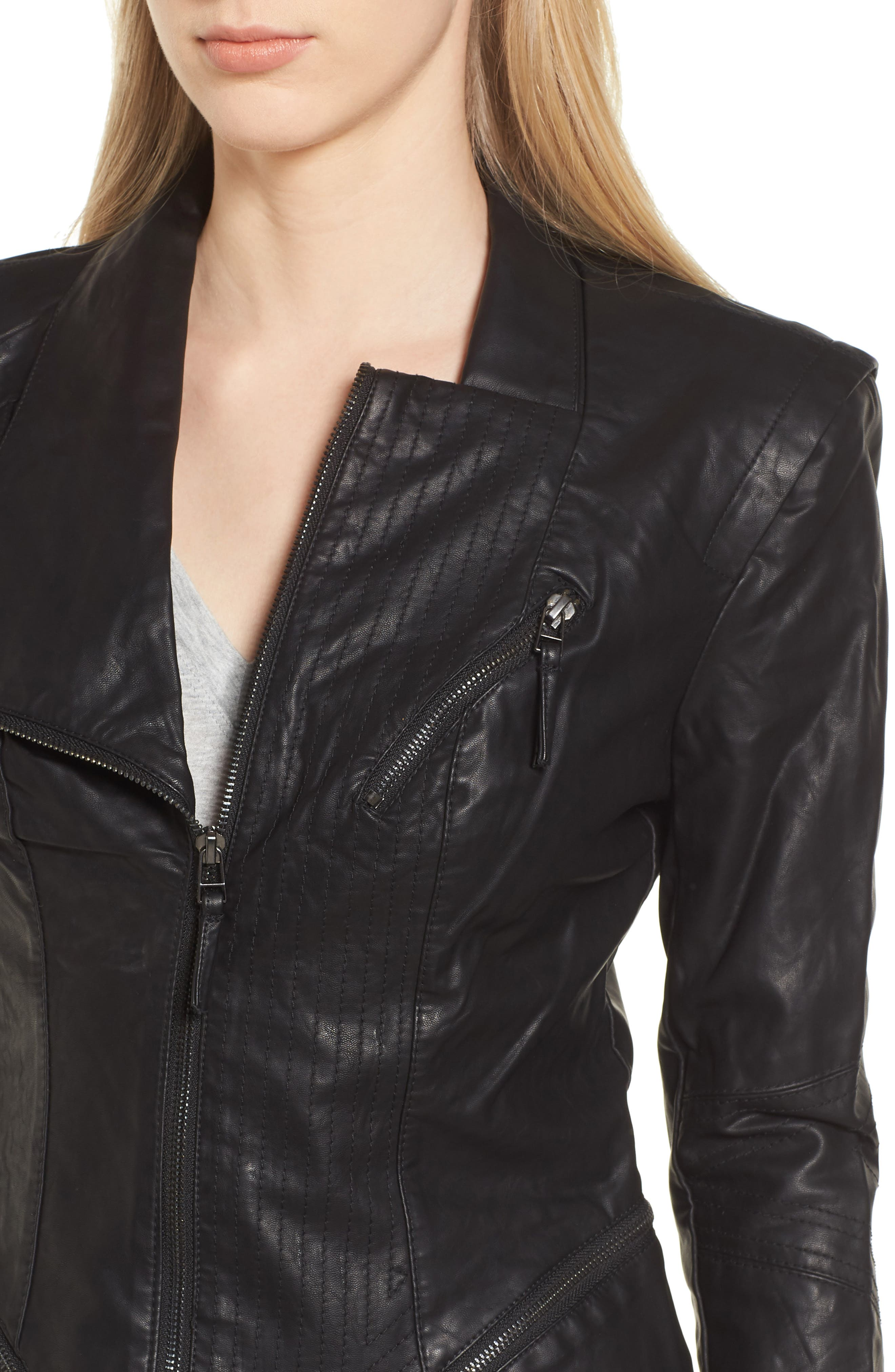 BLANKNYC, Faux Leather Jacket, Alternate thumbnail 5, color, BLACK