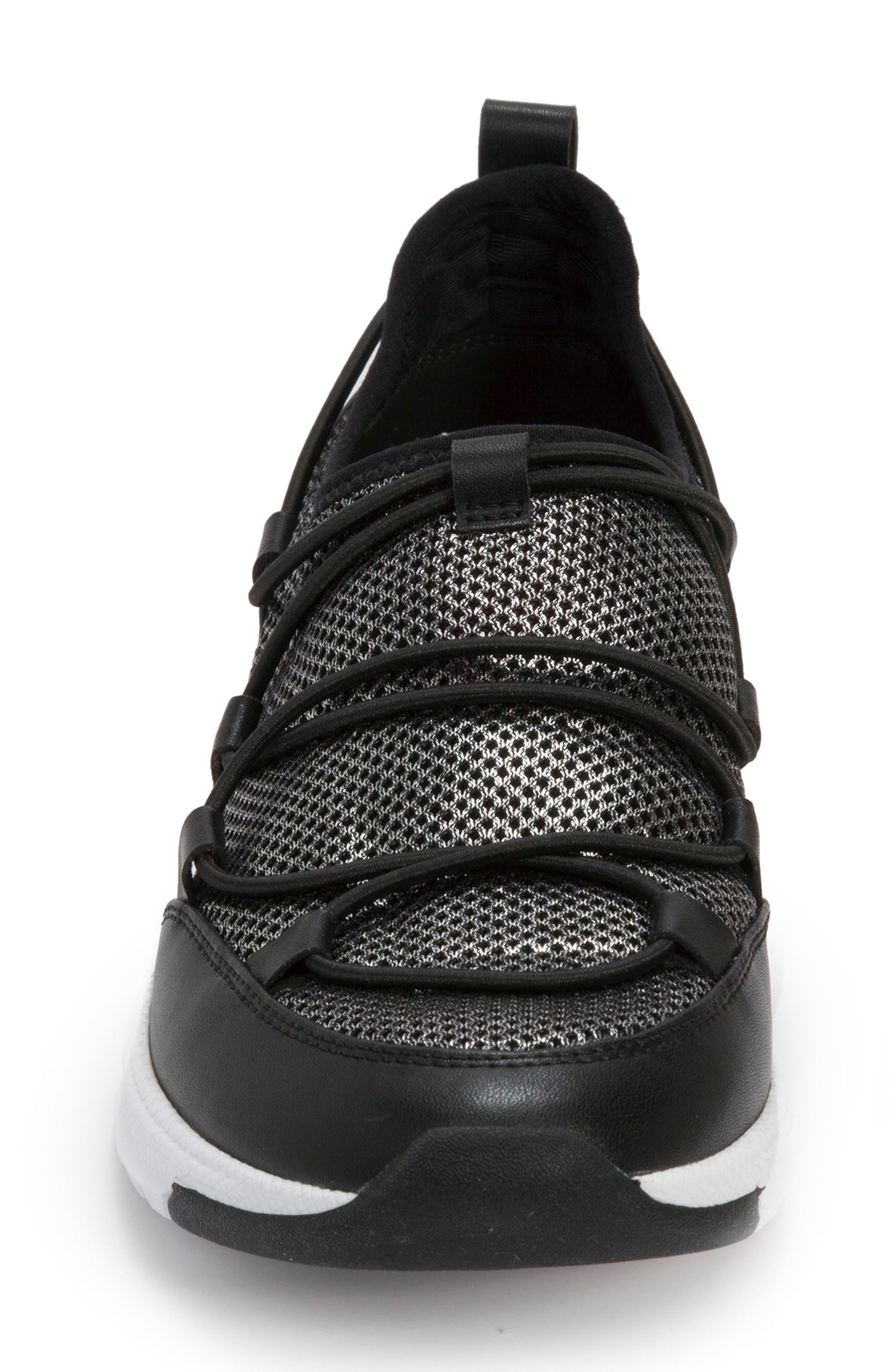 FOOT PETALS, Bree Sneaker, Alternate thumbnail 4, color, BLACK/ PEWTER