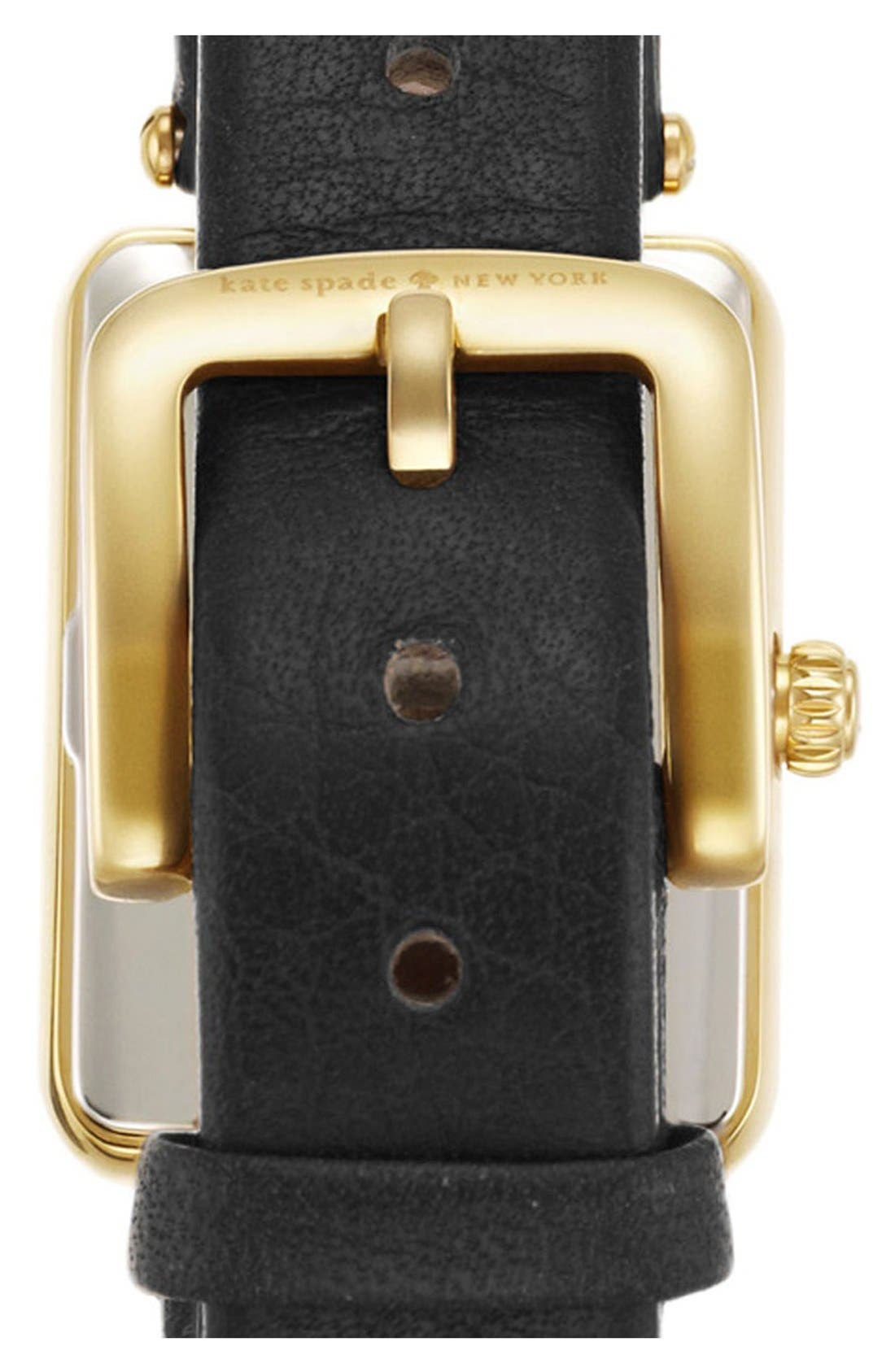 KATE SPADE NEW YORK, 'paley' rectangular leather strap watch, 21mm x 28mm, Alternate thumbnail 3, color, 001
