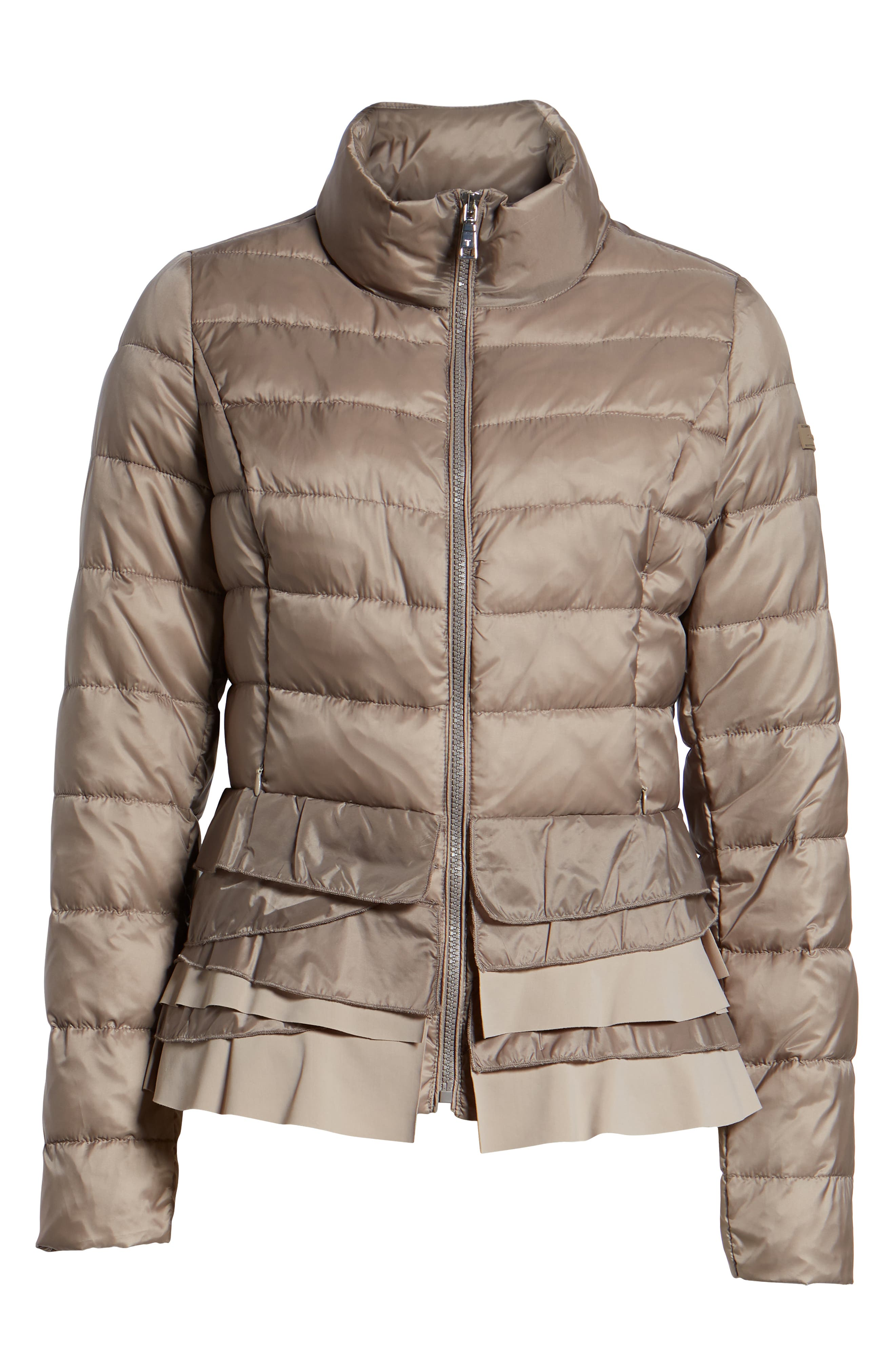 TAHARI, Zoey Ruffle Hem Puffer Jacket, Alternate thumbnail 6, color, TRUFFLE