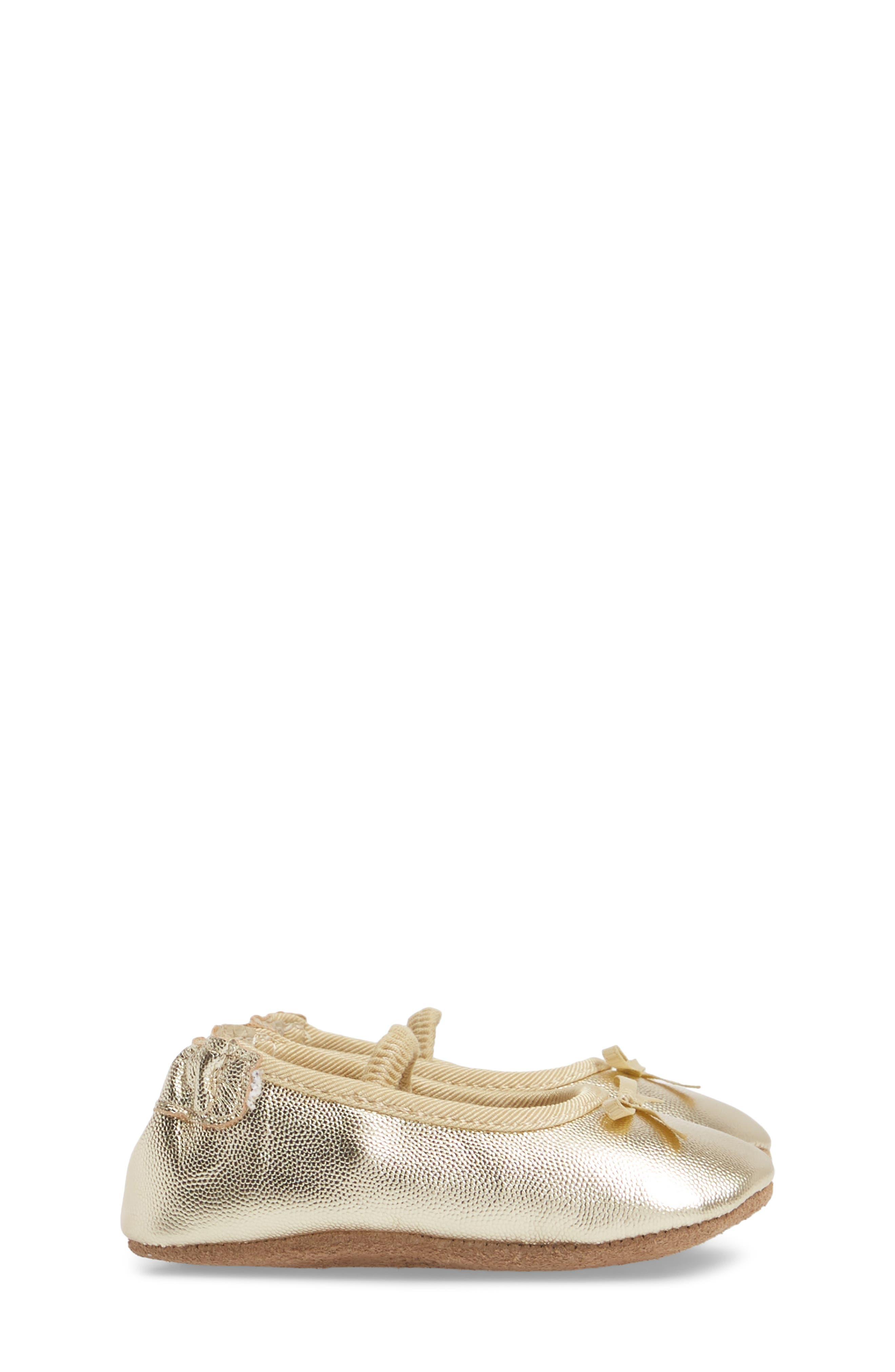 ROBEEZ<SUP>®</SUP>, Athena Ballet Strap Crib Shoe, Alternate thumbnail 3, color, GOLD