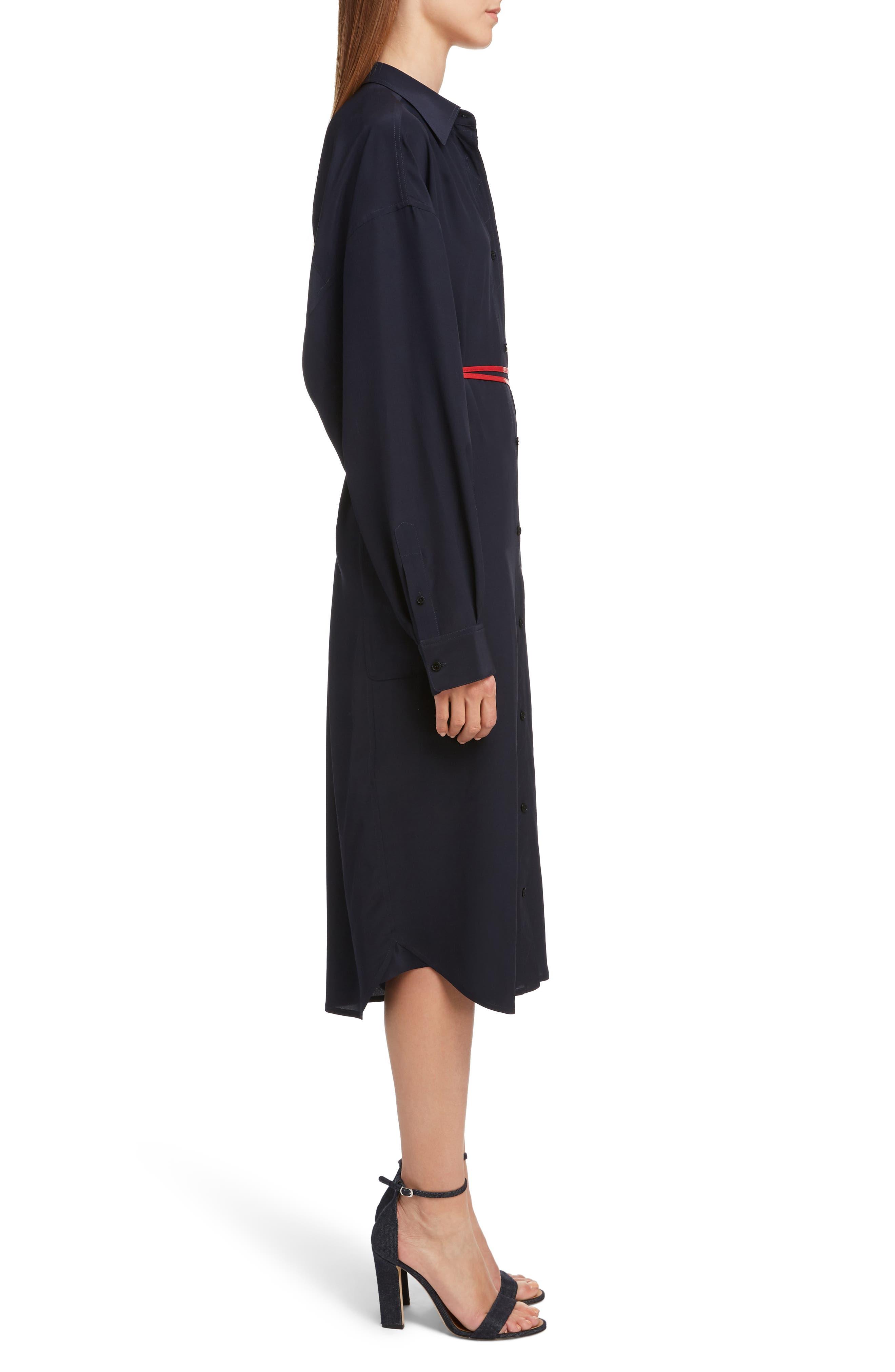 VICTORIA BECKHAM, Belted Silk Shirtdress, Alternate thumbnail 3, color, NAVY/ RED