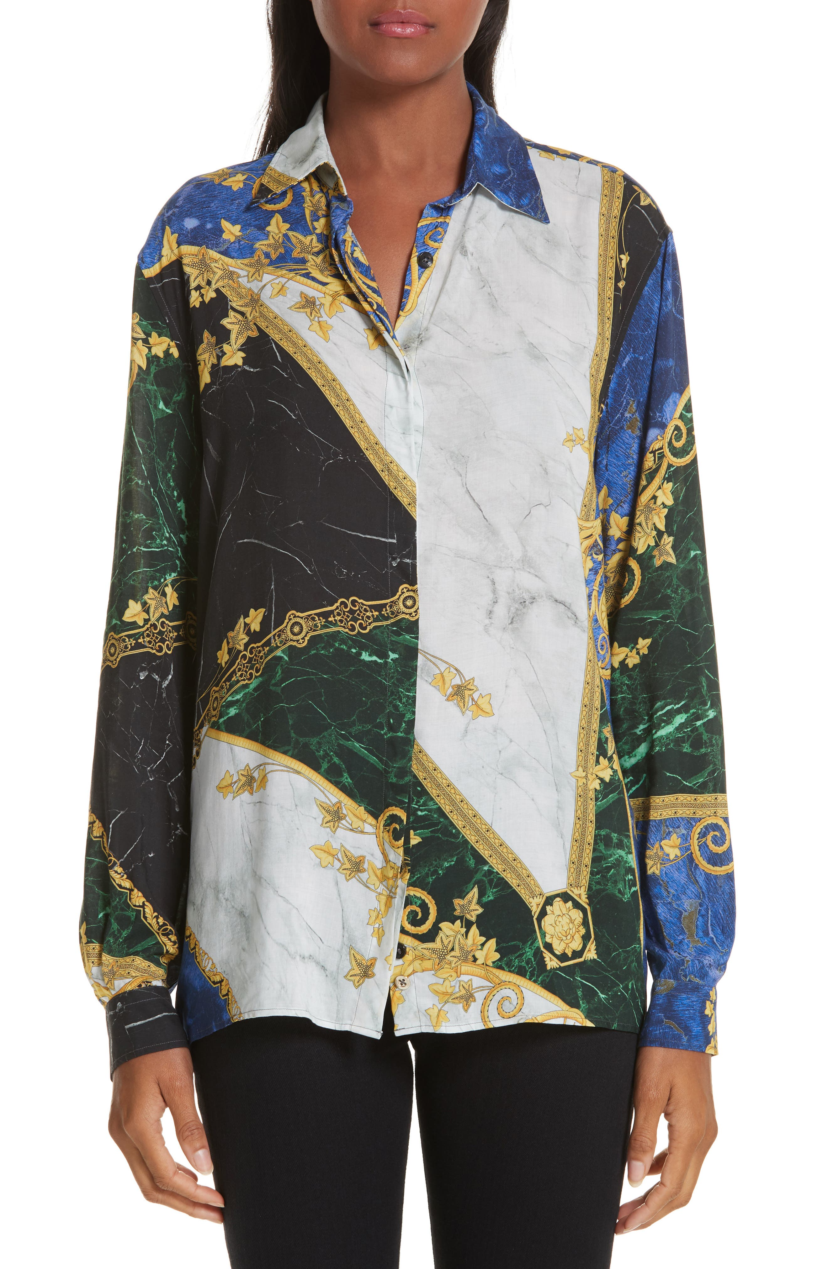 VERSACE COLLECTION Marble Print Blouse, Main, color, MULTI