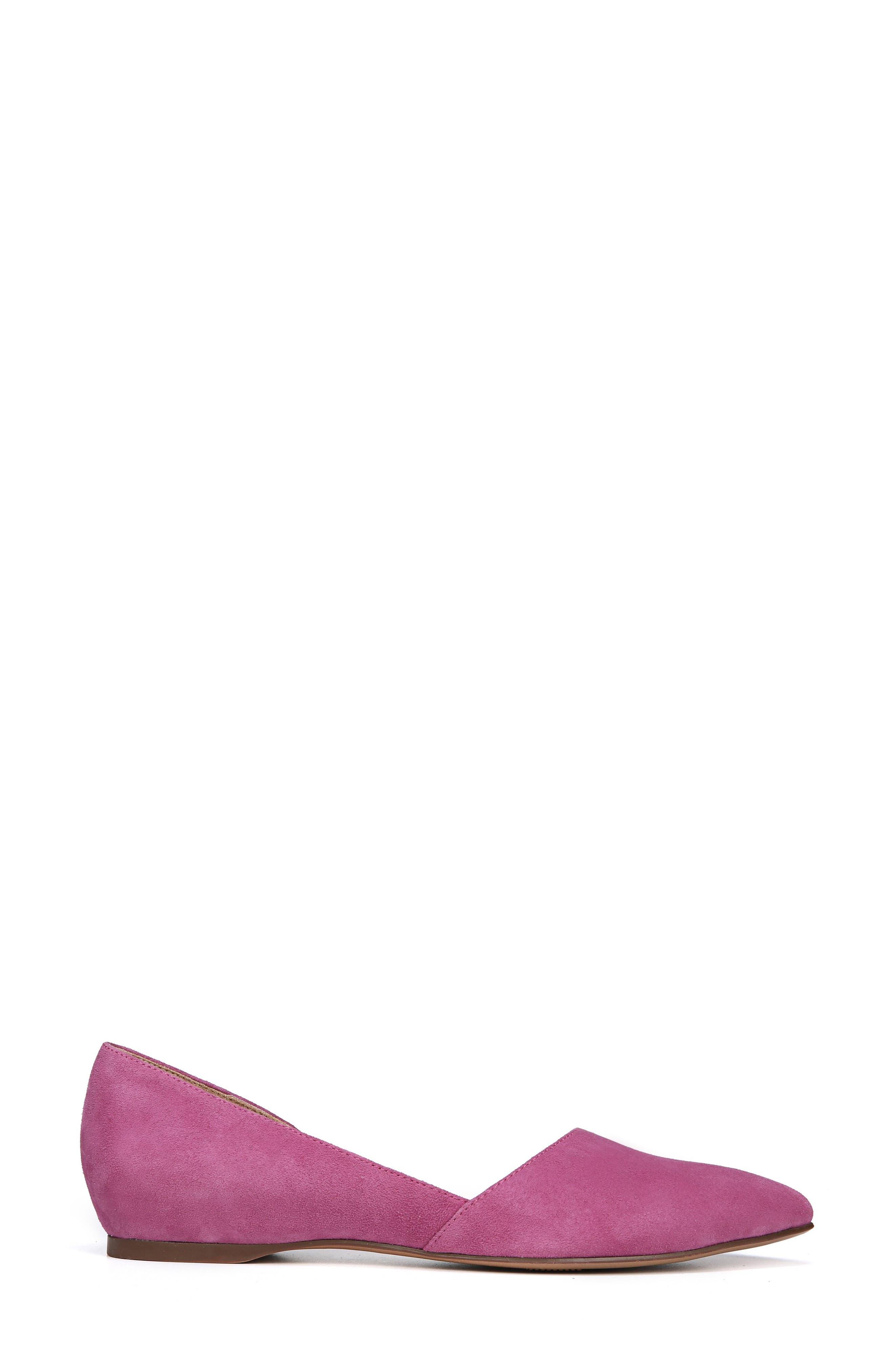 NATURALIZER, Samantha Half d'Orsay Flat, Alternate thumbnail 3, color, RADIANT ORCHID SUEDE