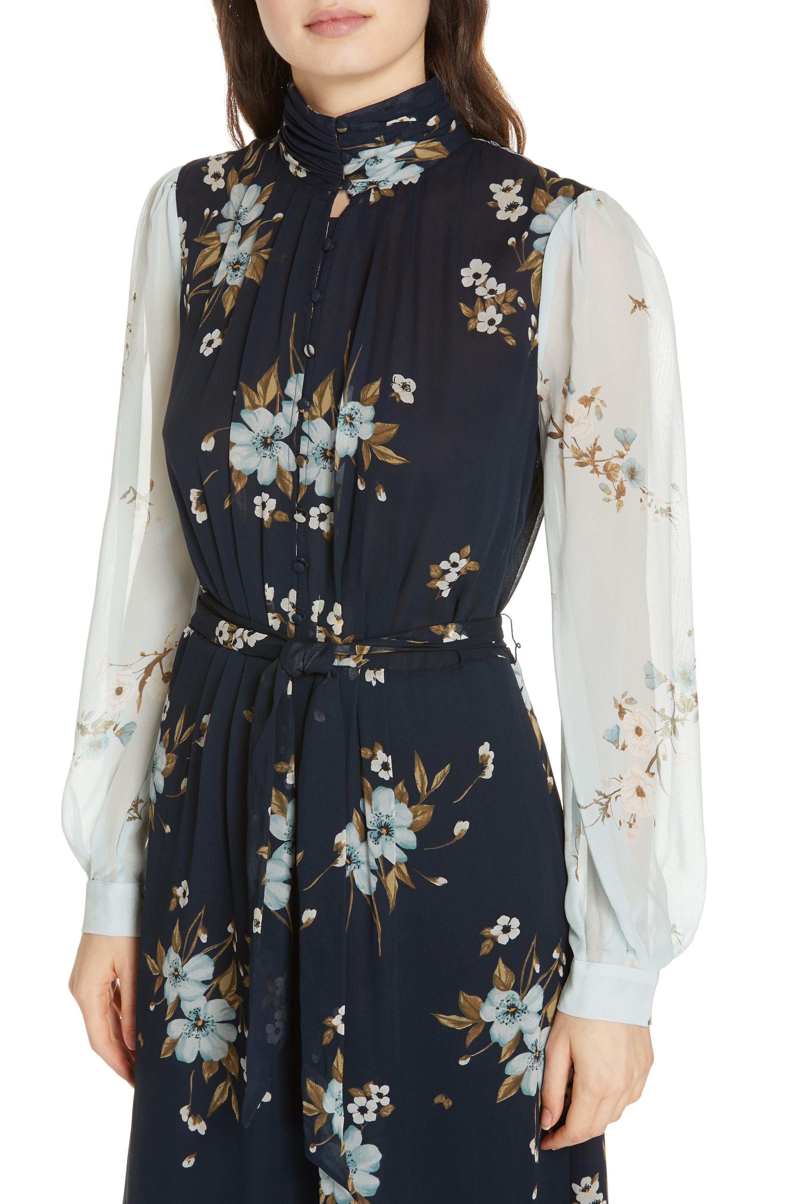 JOIE, Abbryana Silk Chiffon High Neck Dress, Alternate thumbnail 5, color, 440