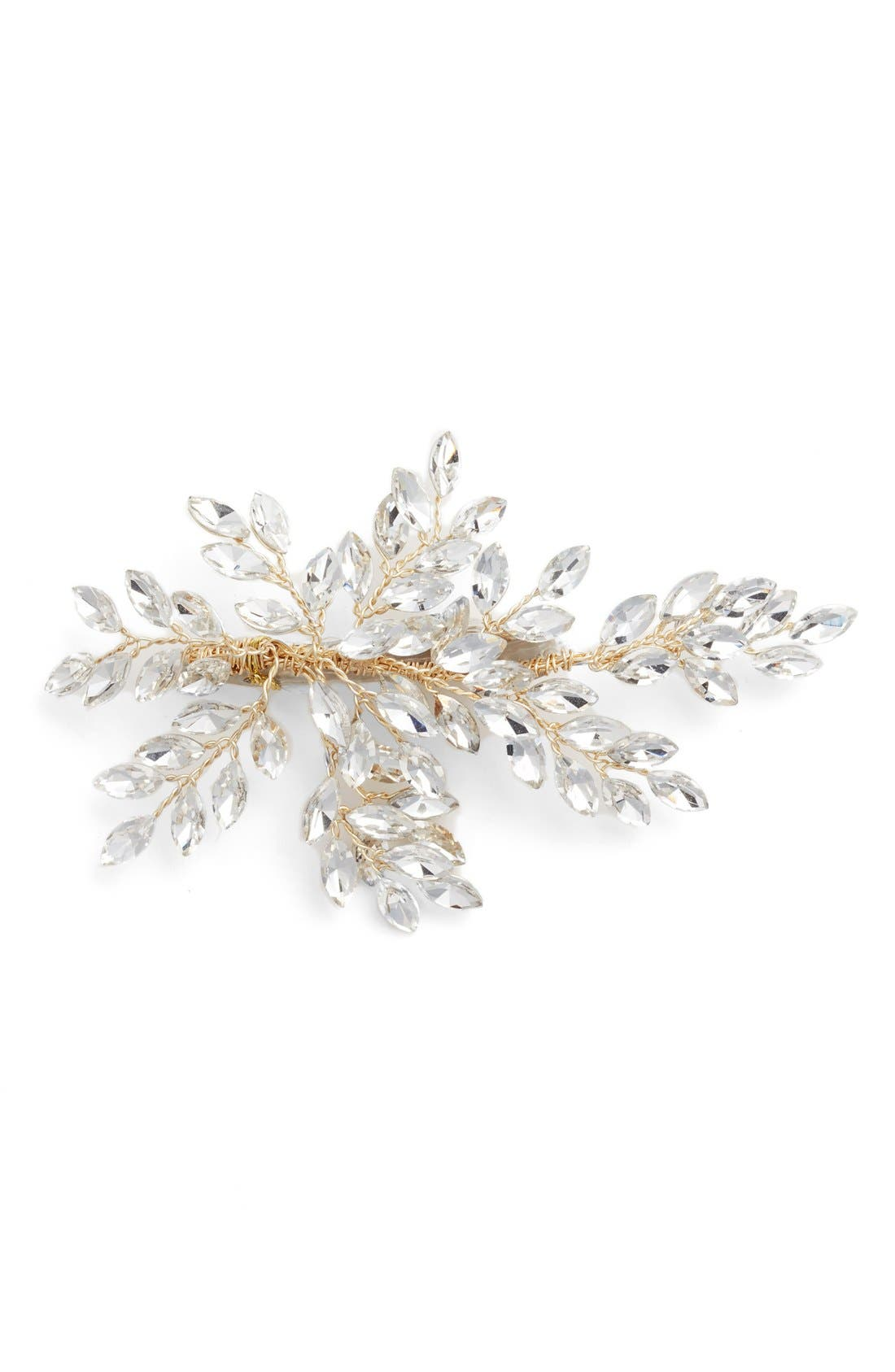 BRIDES & HAIRPINS, 'Sahara' Crystal Leaf Bendable Hair Clip, Main thumbnail 1, color, GOLD
