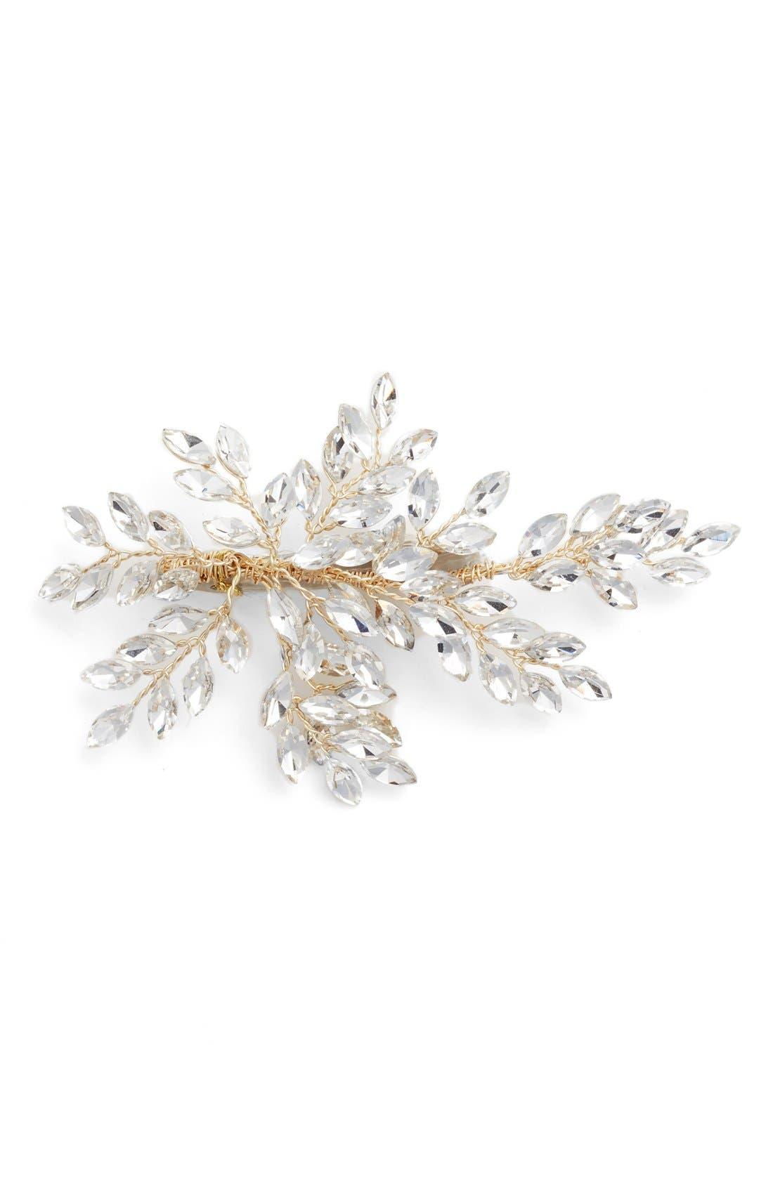 BRIDES & HAIRPINS 'Sahara' Crystal Leaf Bendable Hair Clip, Main, color, GOLD
