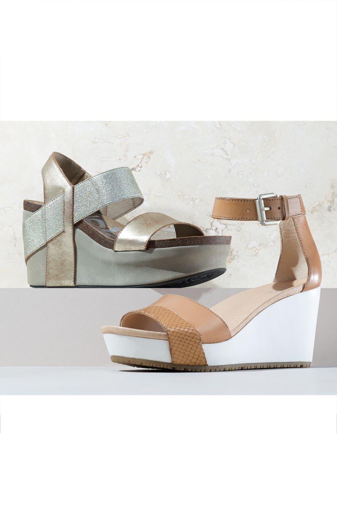OTBT, 'Bushnell' Wedge Sandal, Alternate thumbnail 7, color, BLACK/ BLACK LEATHER