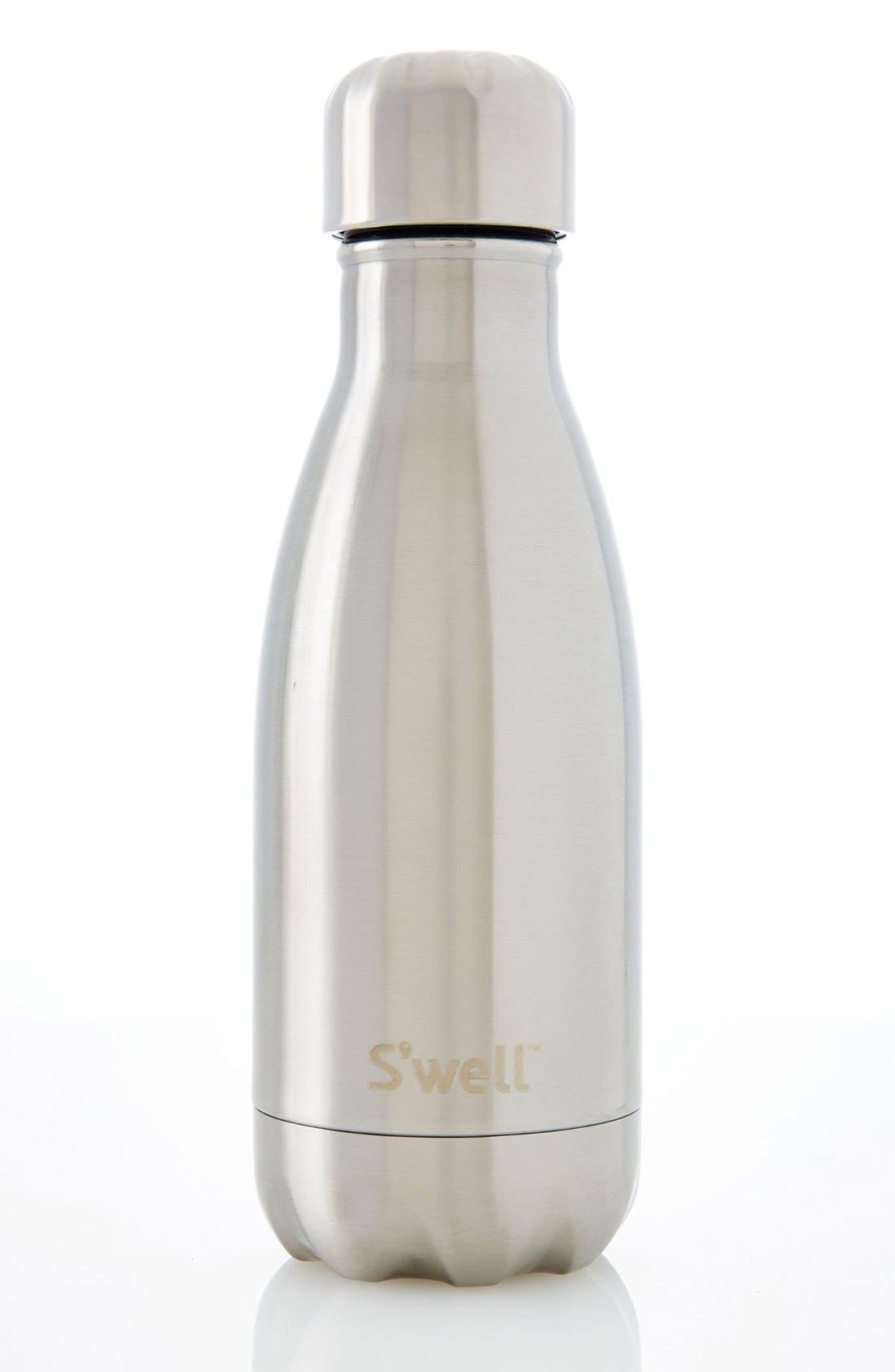 S'WELL, 'Silver Lining' Stainless Steel Water Bottle, Alternate thumbnail 5, color, SILVER